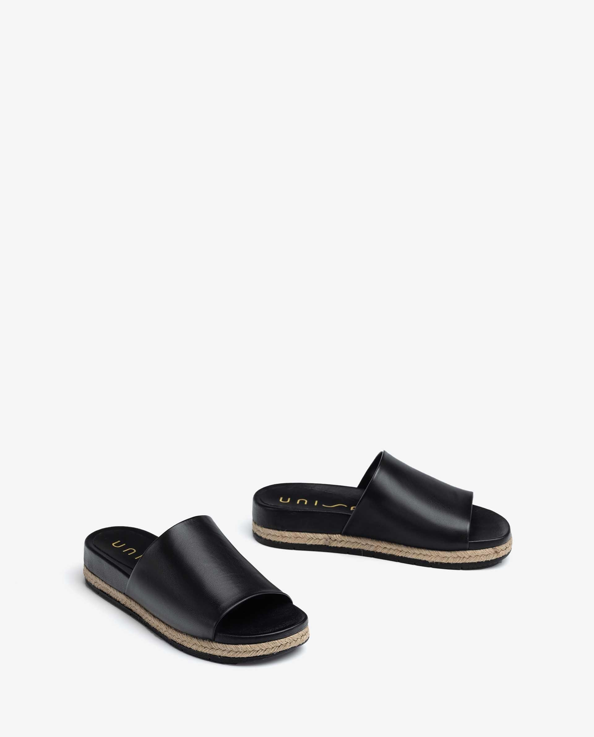 UNISA Leather and jute sandals CANDEL_NA 2