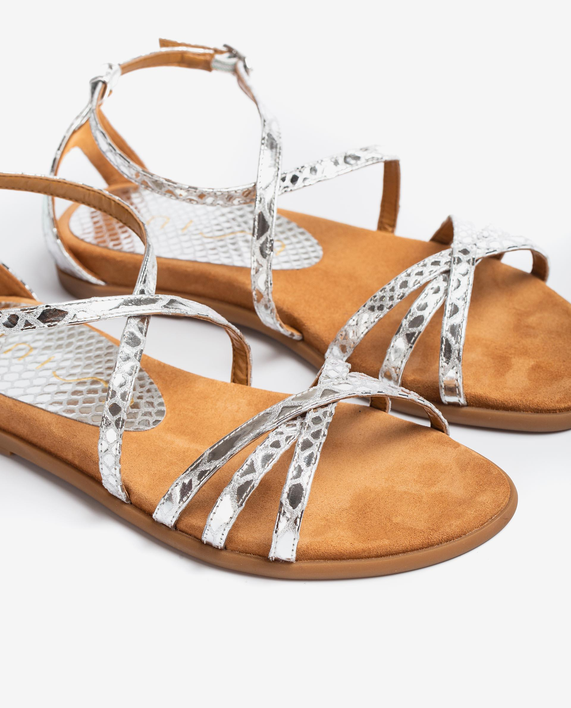 UNISA Snake effect leather flat sandals CARCER_SNM 2