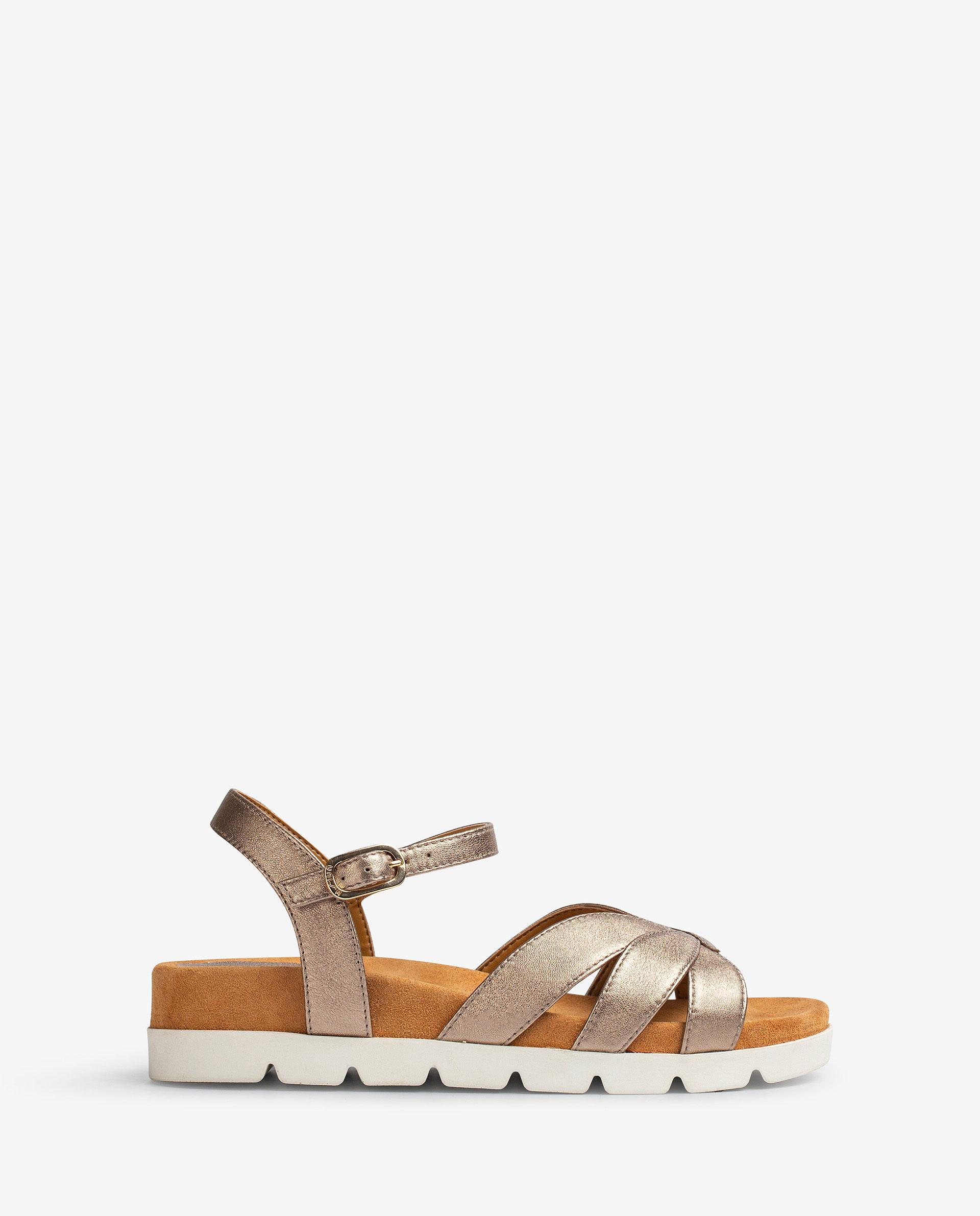 UNISA Flat metal effect leather sandals, sport soles CEDILLO_LMT 2