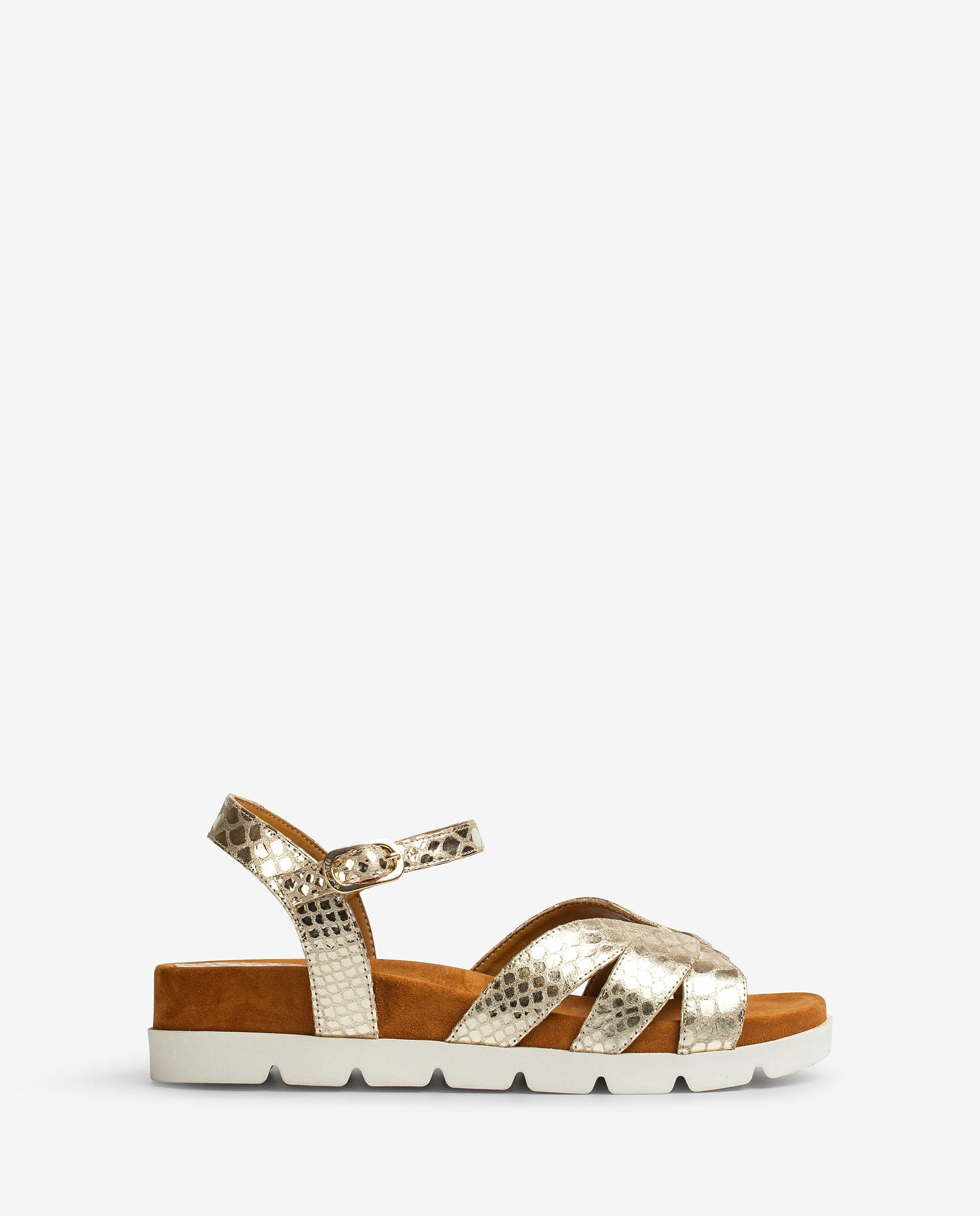 UNISA Flat shiny snake effect leather sandals, sport soles CEDILLO_SNM 2