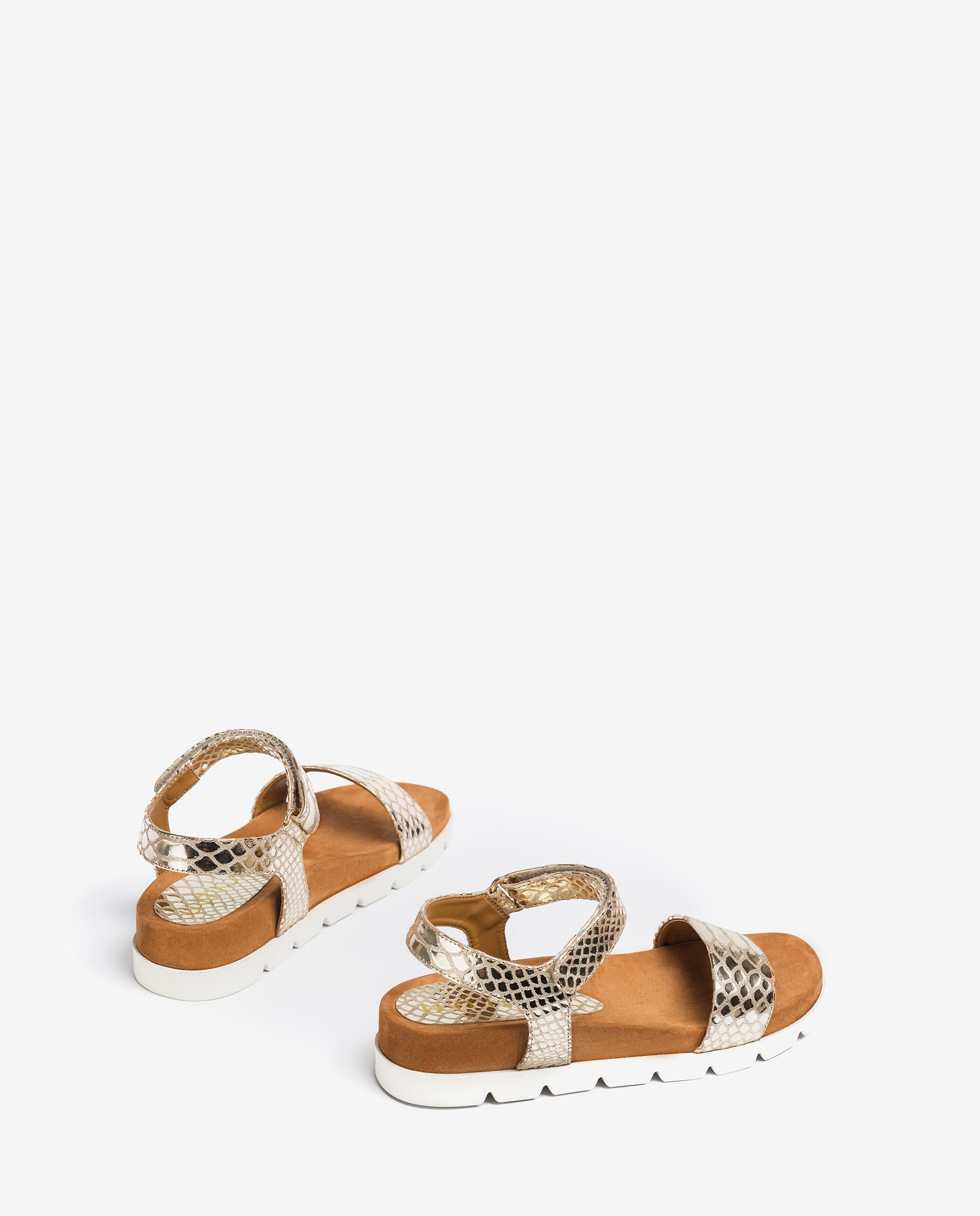 UNISA Snake effect leather sandals with hook and loop strap CEPEDA_SNM  2