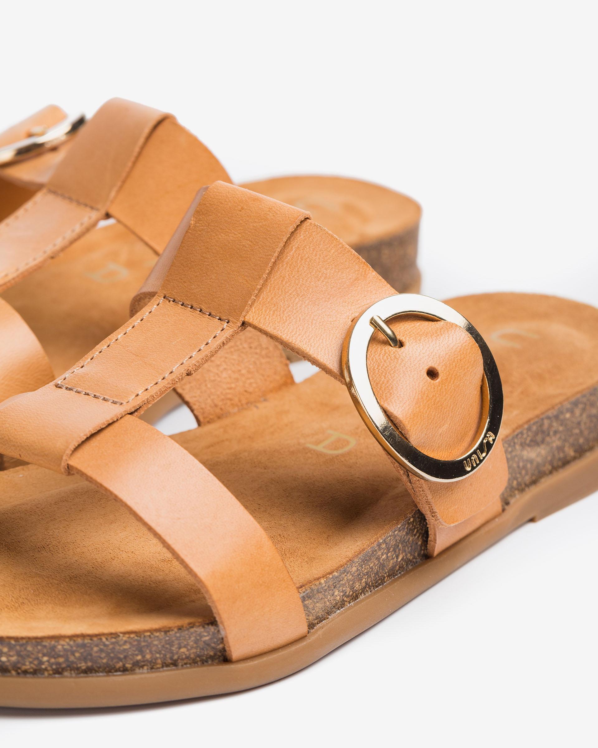 UNISA Buckle leather sandals with cork platform CIVETA_RAN 2