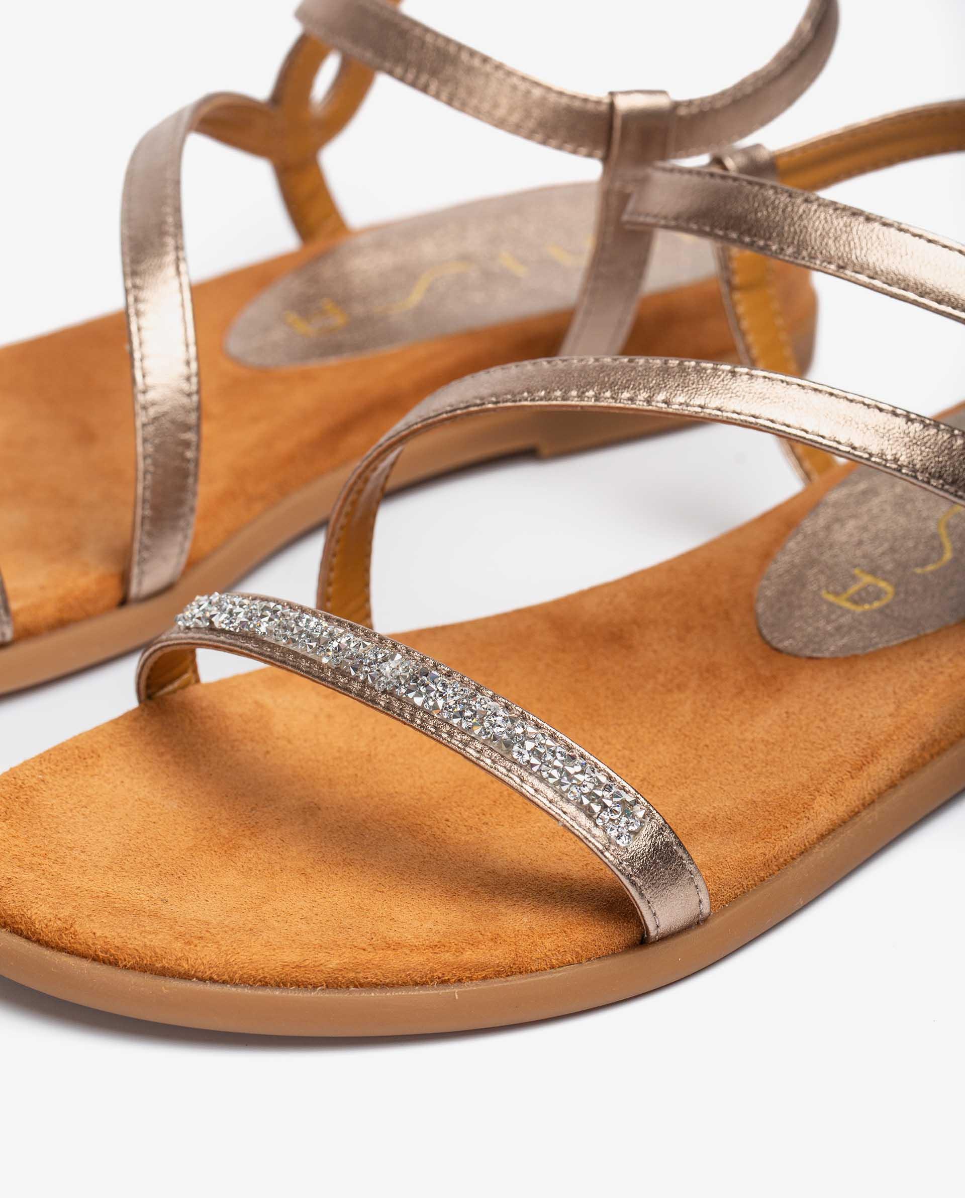 UNISA Metal effect leather sandals with Swarovski CLARIS_21_LMT 2