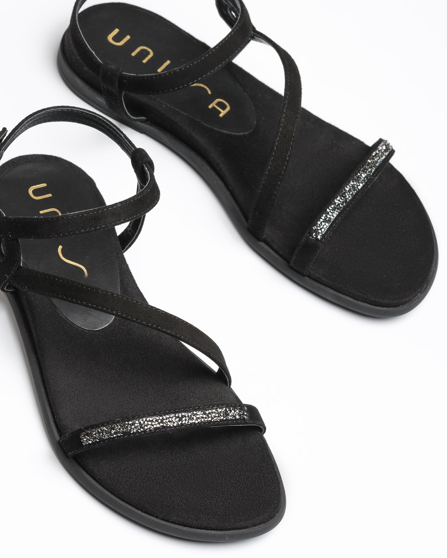 UNISA Flat black Swarovski sandals CLARIS_KS black 2