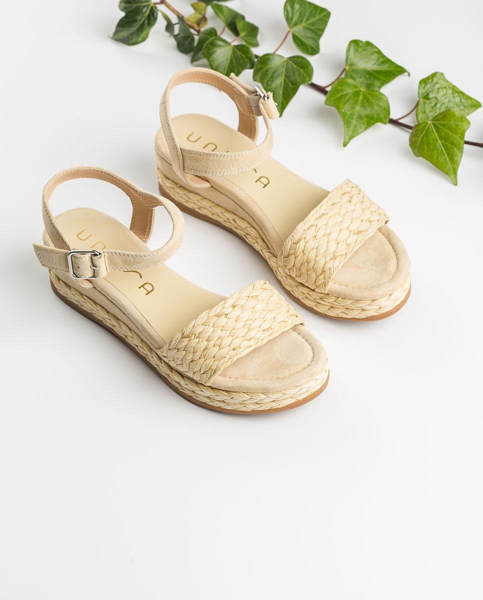 UNISA Braided kid suede sandals GABIR_KS nut 2