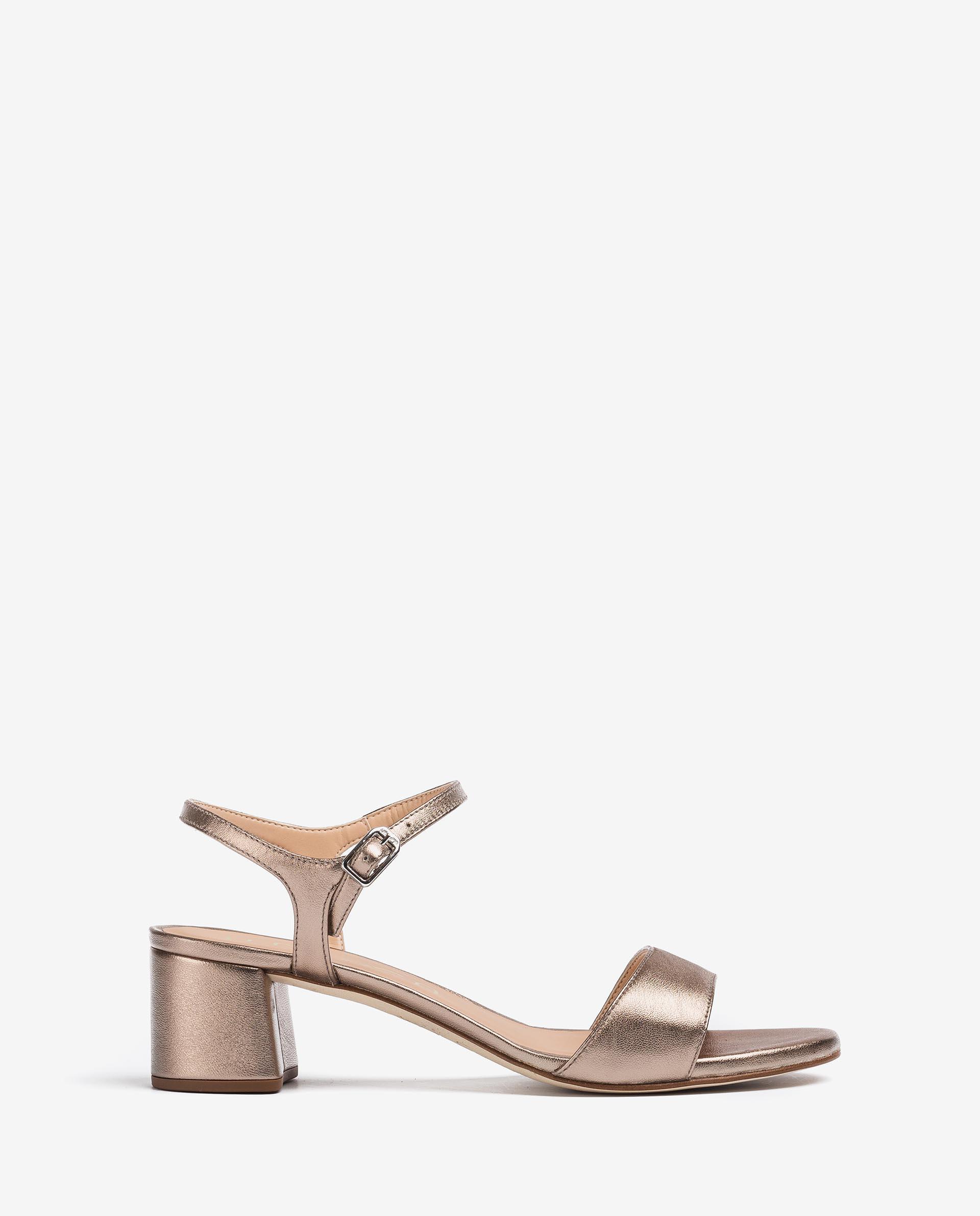 UNISA Metal effect leather sandals with wide heel GENTO_21_LMT 2