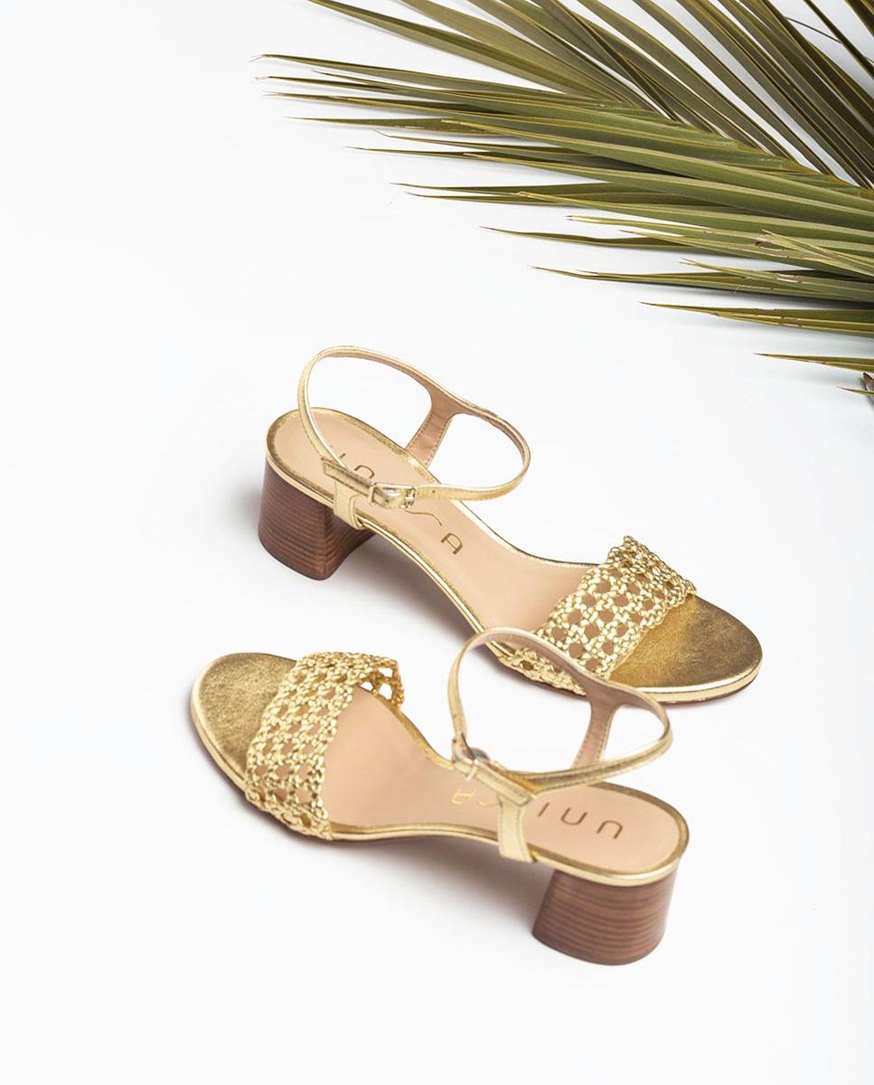 UNISA Golden braided sandals GITA_LMT gold 2