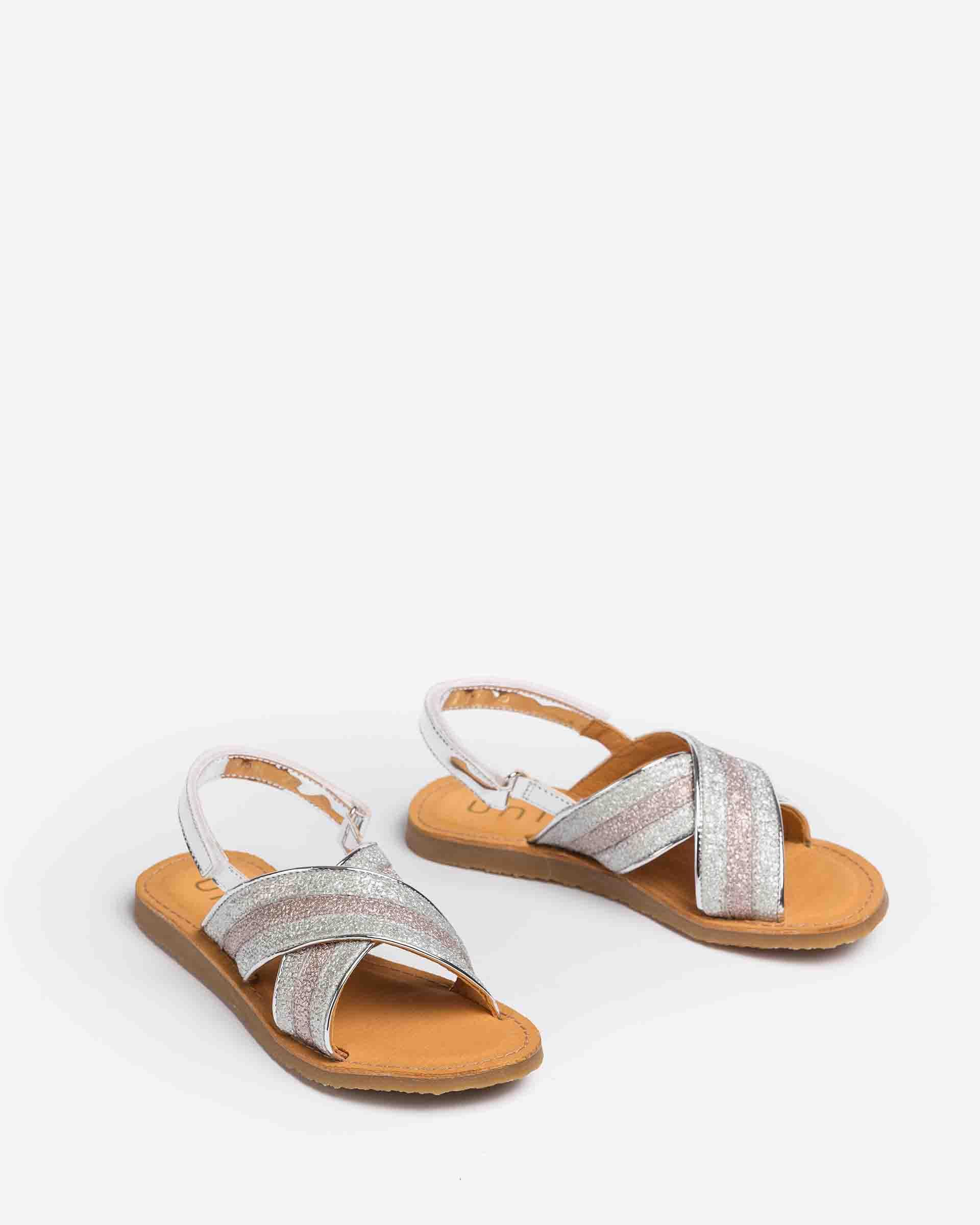 UNISA Little girl´s crossed straps fabric and mirror effect contrast GOLETA_BON 2