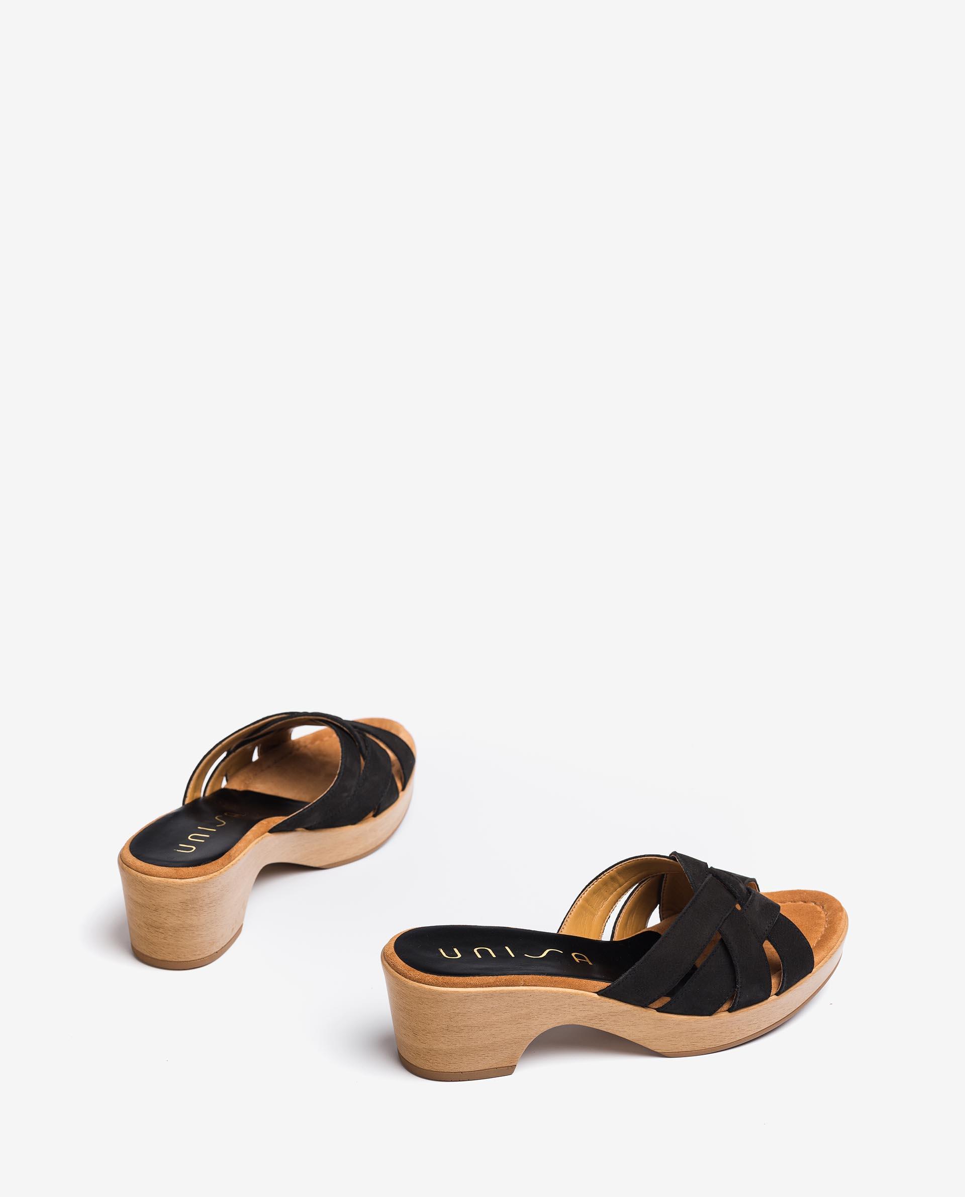 UNISA Crossed straps mules with wooden effect block heel IBROS_BLU 2