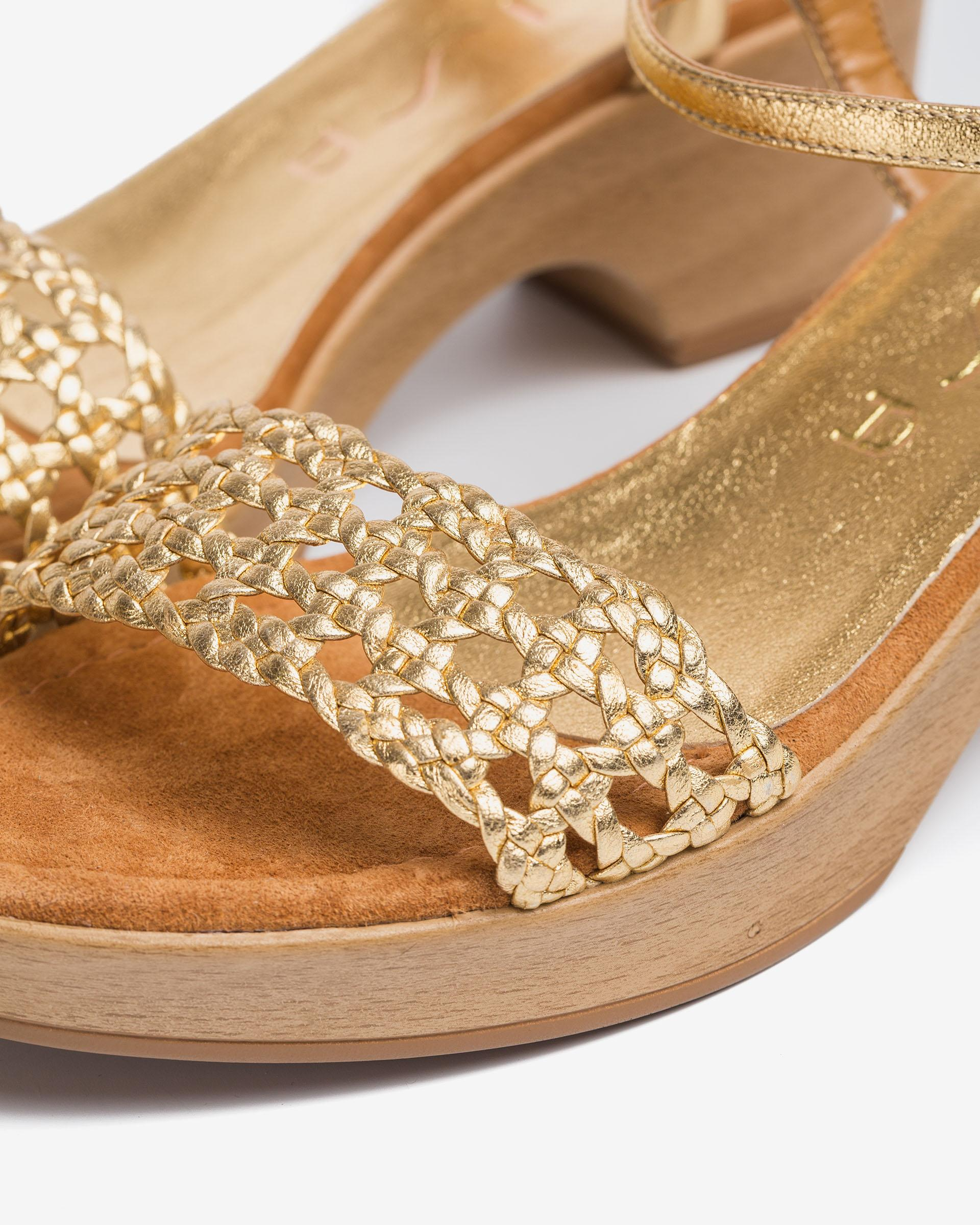 UNISA Metal effect leather braided sandals ILOBI_21_LMT 2