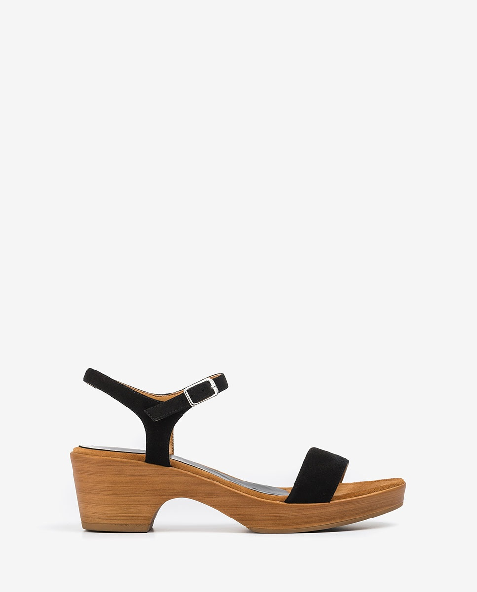 UNISA Kid suede block sandals IRITA_20_KS black 2