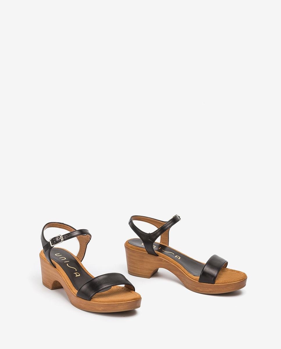 UNISA Leather block sandals IRITA_20_NA black 2