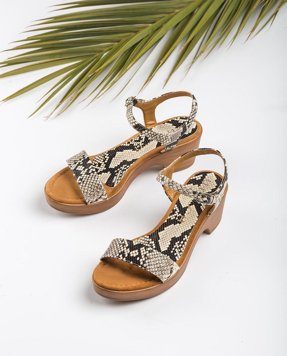 UNISA Snake block sandals IRITA_20_VIP nacar 2