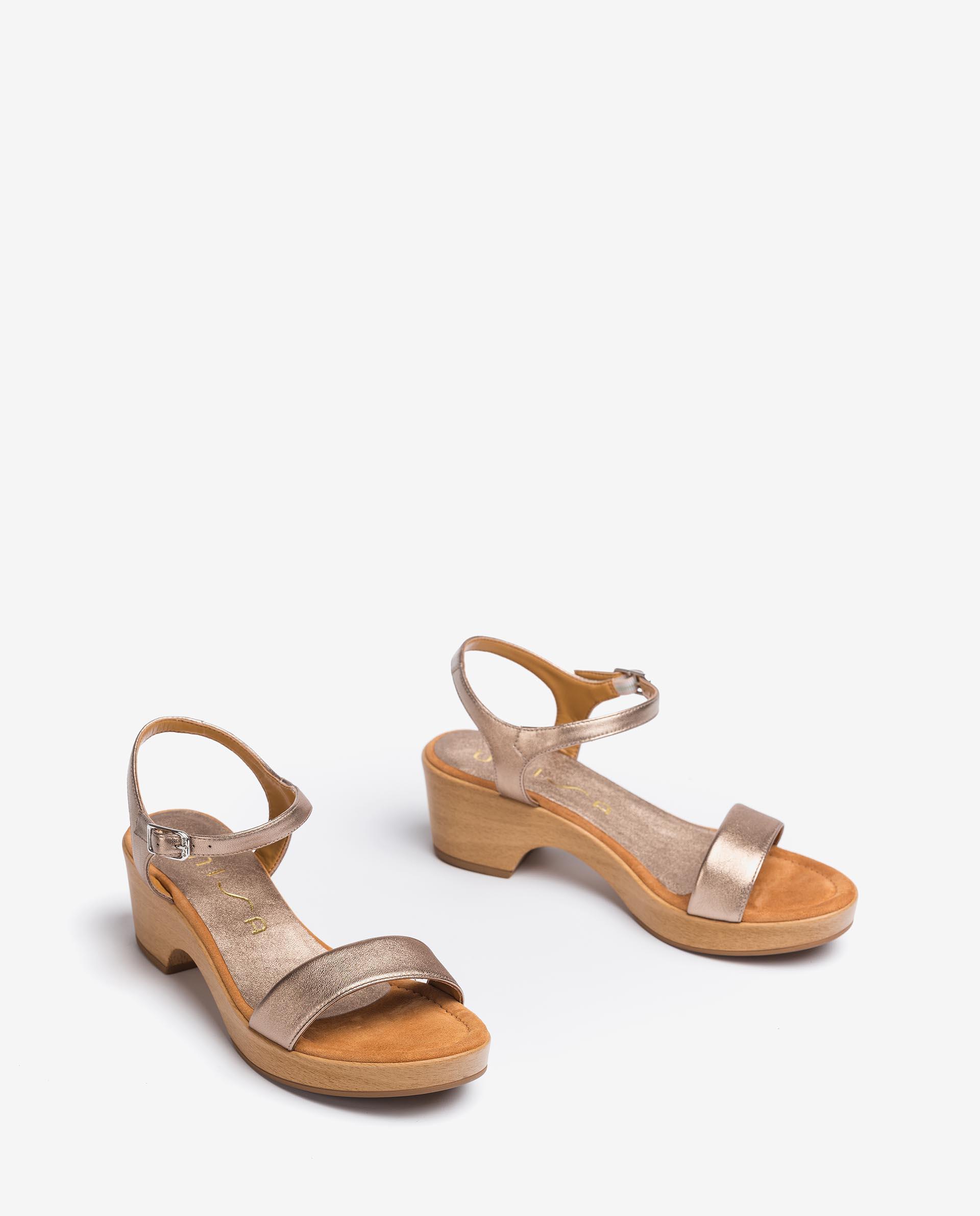 UNISA Metal effect leather block sandals IRITA_21_LMT 2