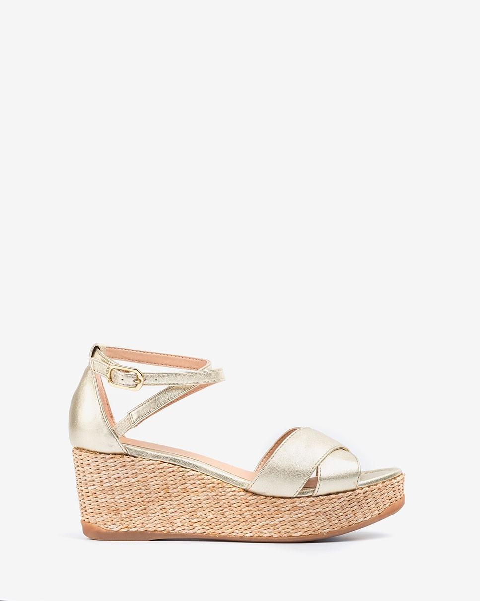 UNISA Wedge sandals light gold KANOA_LMT platino 2