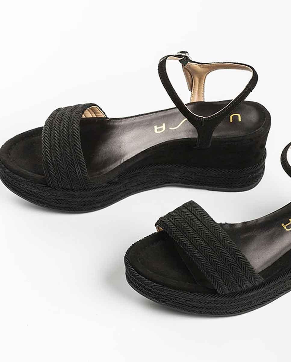UNISA Braided wedge sandals KATIA_20_KS black 2