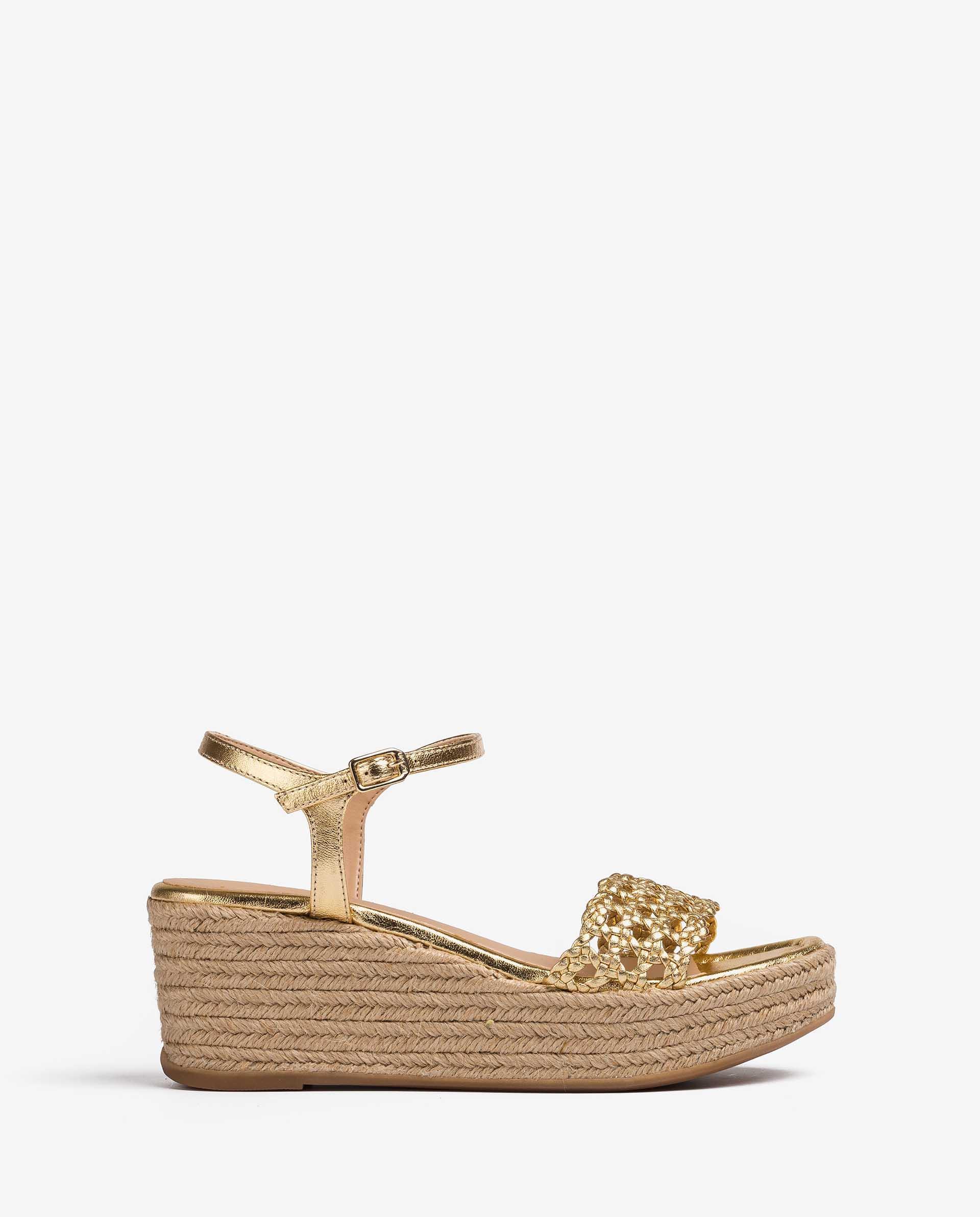 UNISA Braided wedge  metal effect leather sandals KAYTO_LMT 2