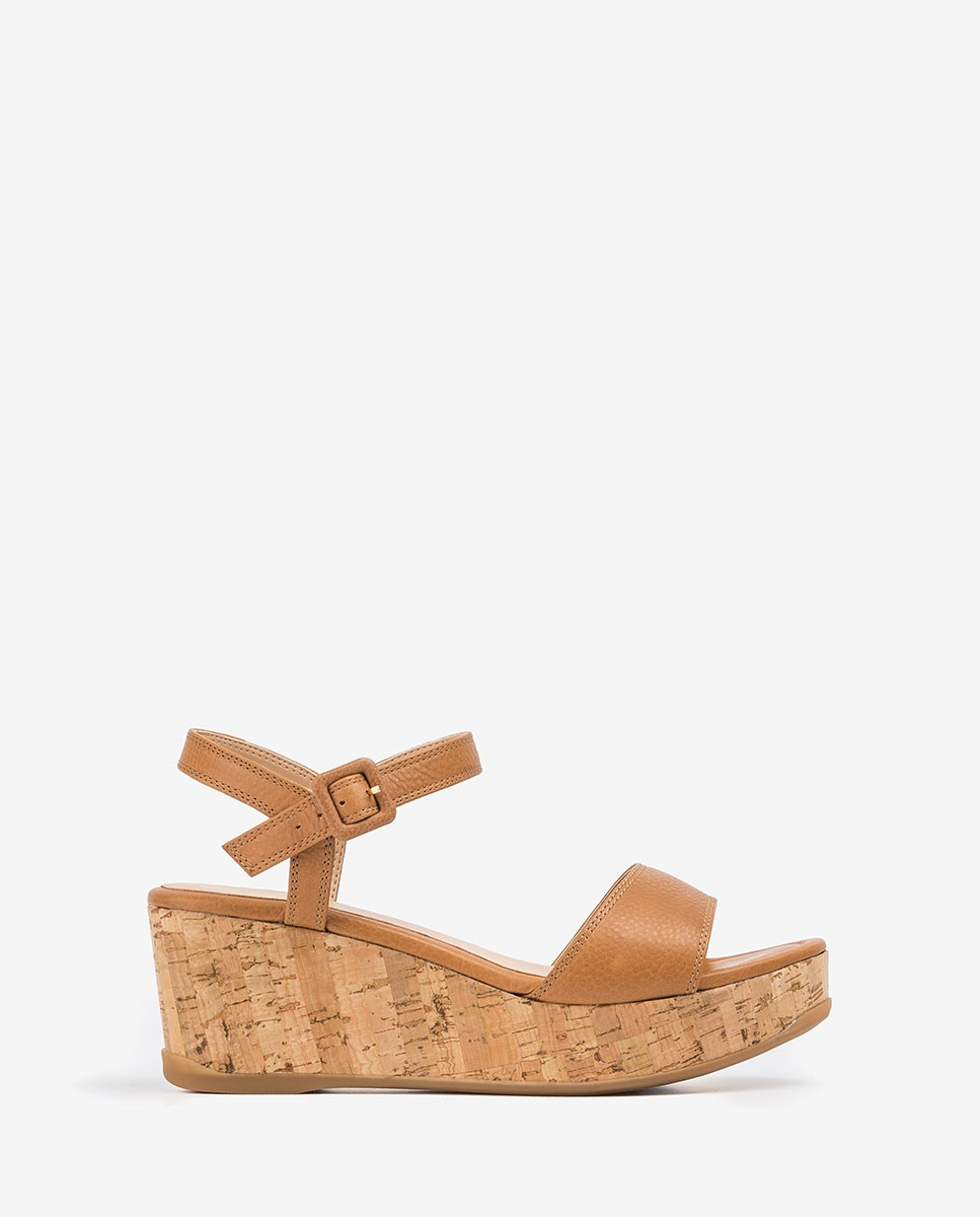 UNISA Leather cork wedge sandals KOME_STY bisquit 2