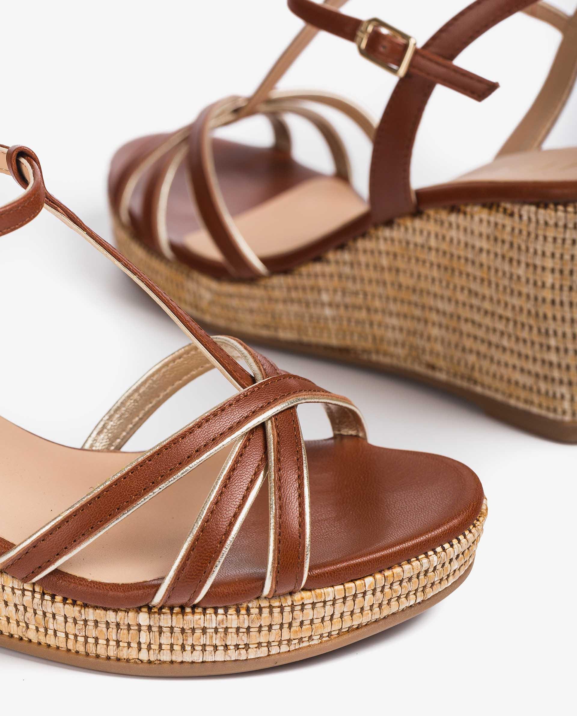 UNISA Wedge metal effect T-strap sandals LLINAR_21_LMT_NA 2