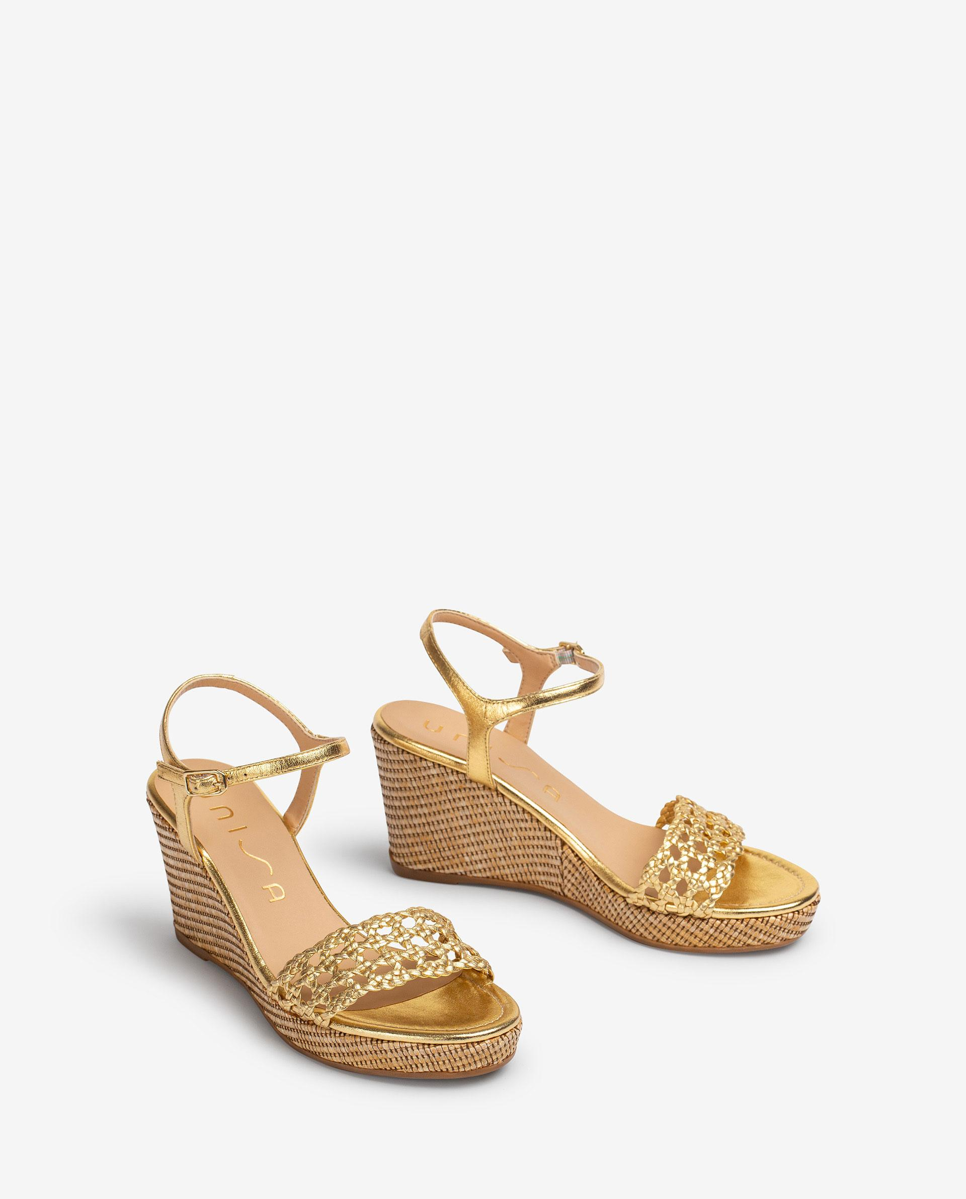 UNISA Braided metal effect leather macrame sandals LOBI_21_LMT 2