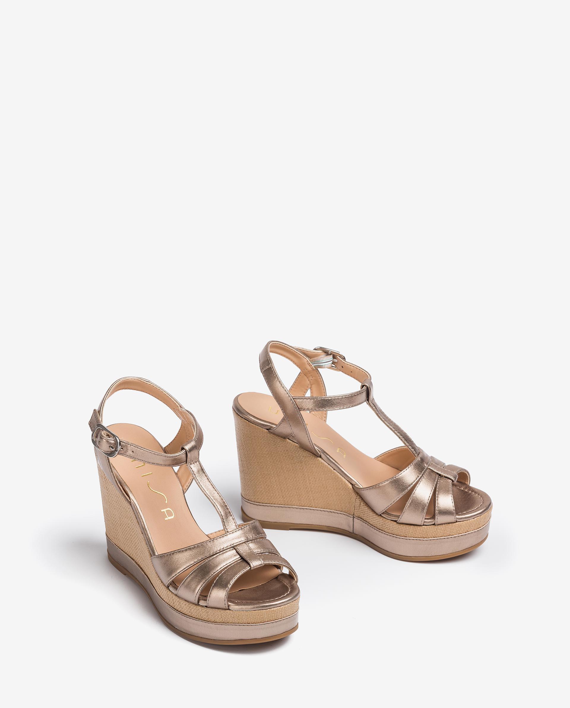 UNISA Metal effect leather T-Strap sandals MANACOR_LMT 2