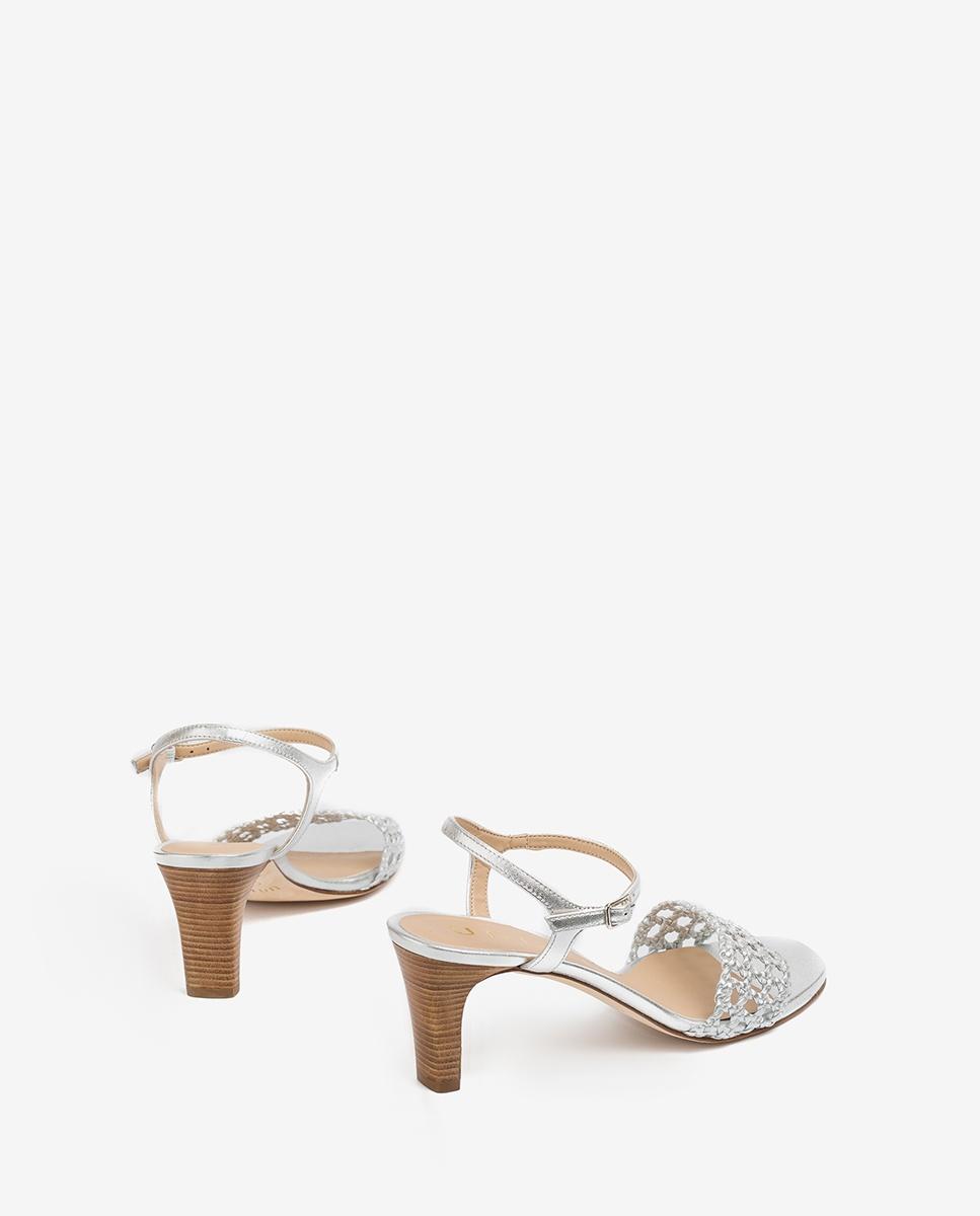 UNISA Macramé metal effect sandals MAXWEL_LMT silver 2