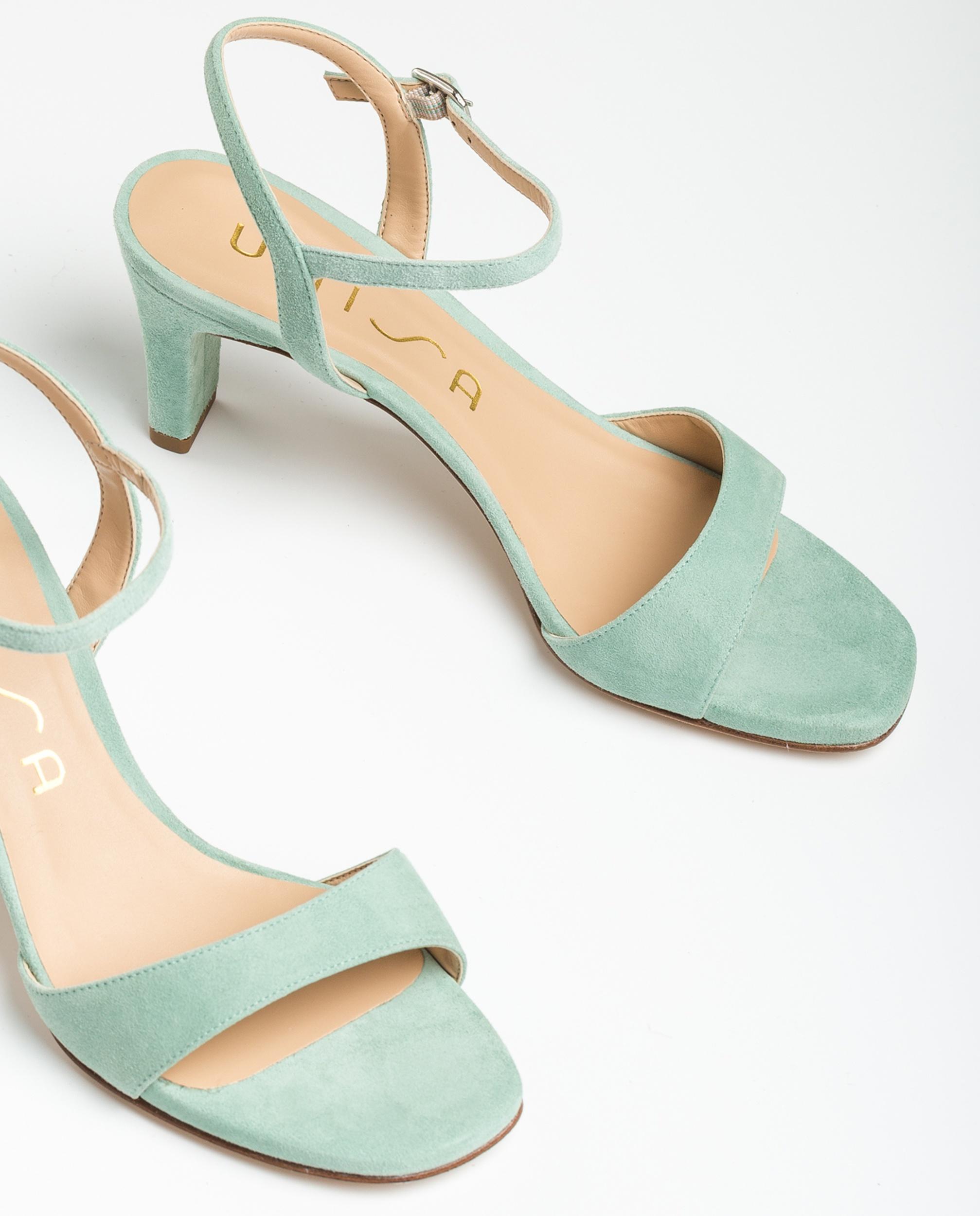 UNISA Kid suede sandals medium heel MECHI_KS mint 2
