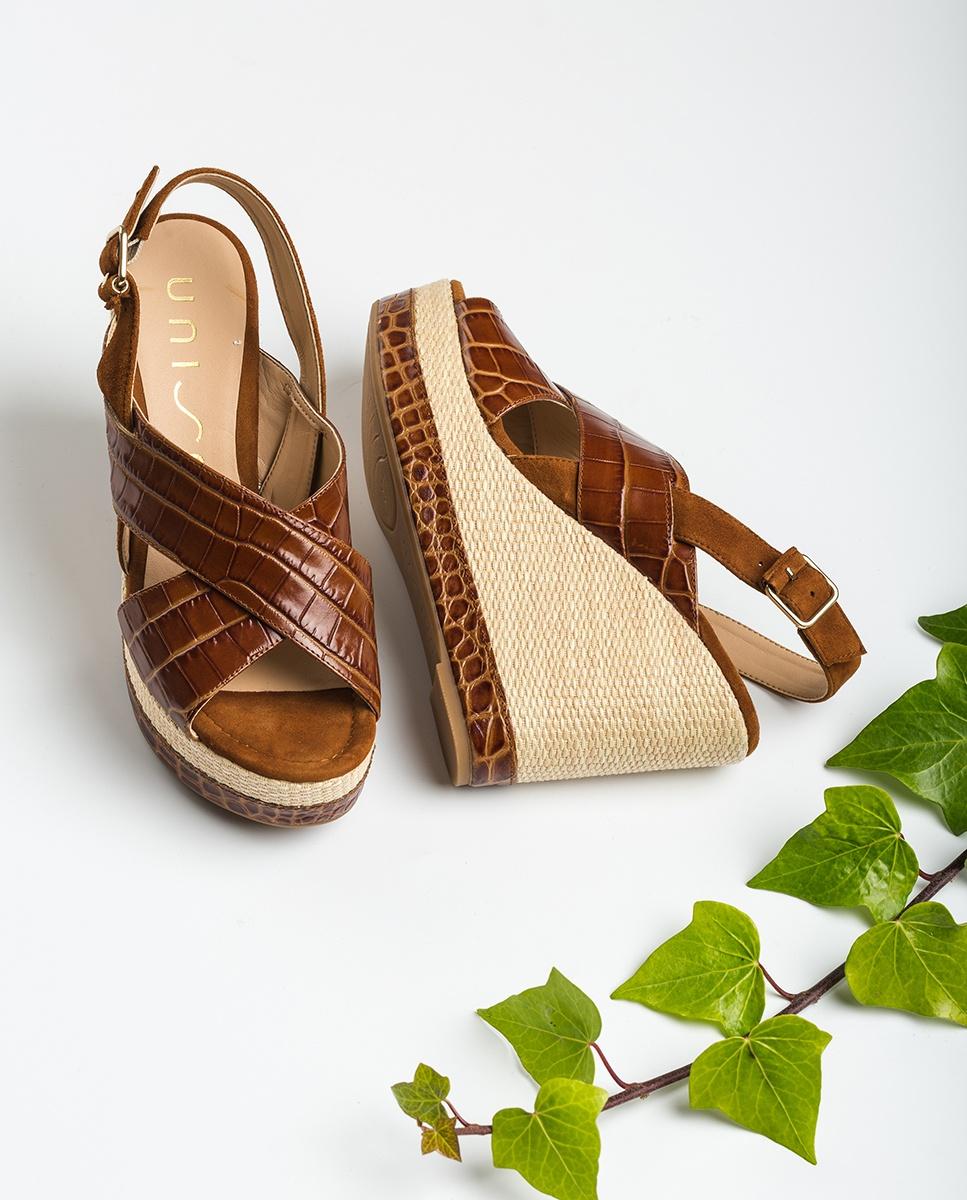 UNISA Contrast croc sandals MIGUEL_CRW_KS saddle/cui 2