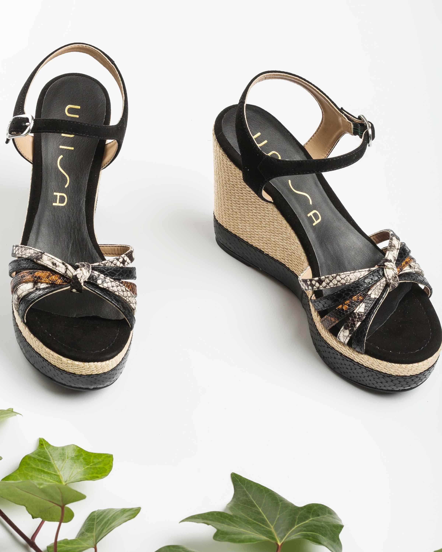 UNISA Contrast snake effect wedge sandals MIRELLA_REP_KS blk/nac/te 2