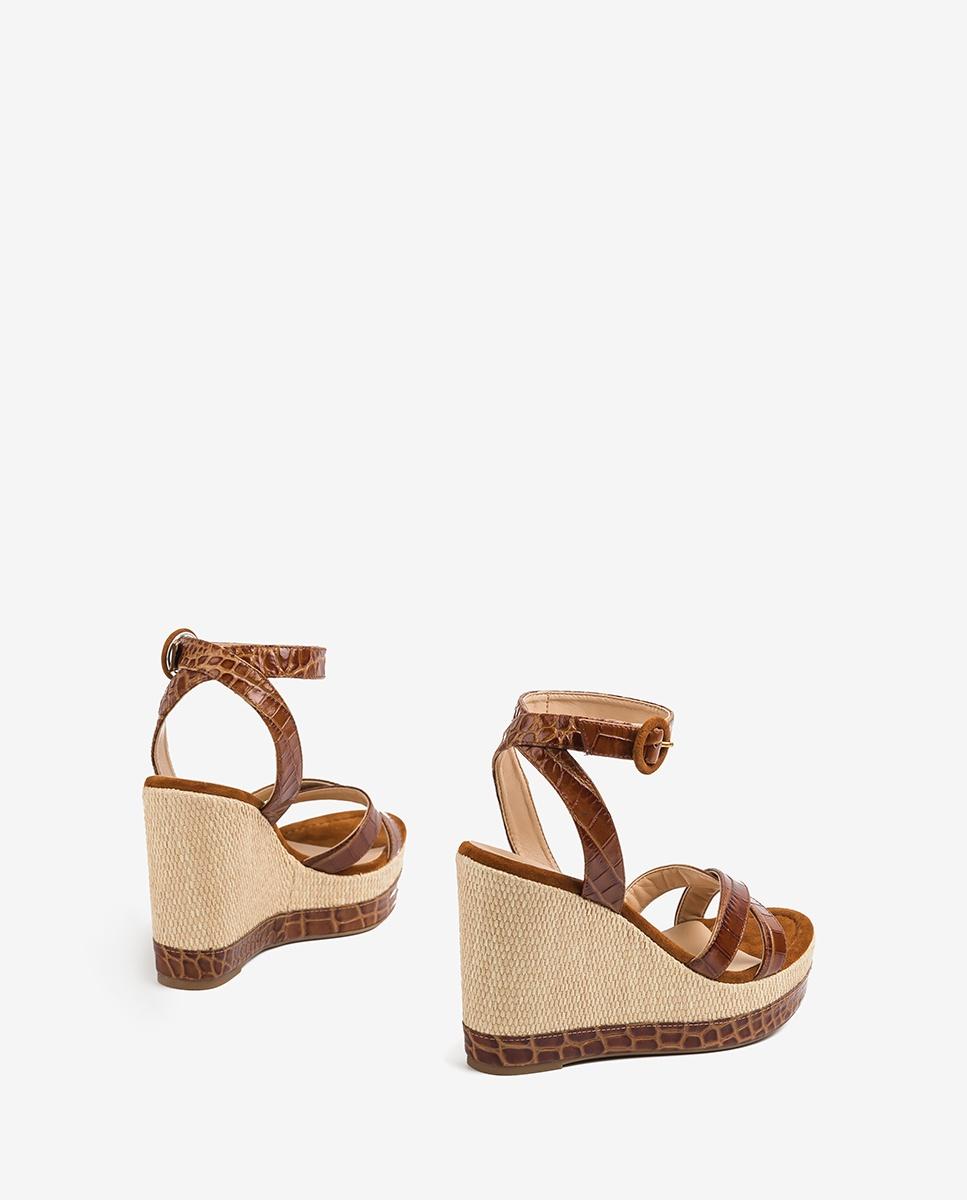 UNISA Croc wedge sandals MONTEA_CRW saddle 2