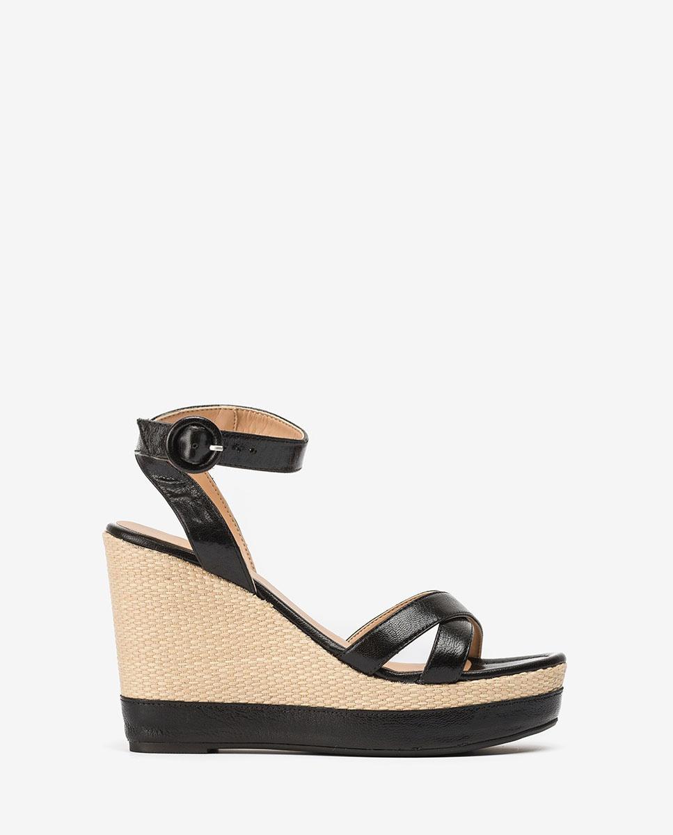 UNISA Wedge contrast leather sandals MONTEA_GCR black 2