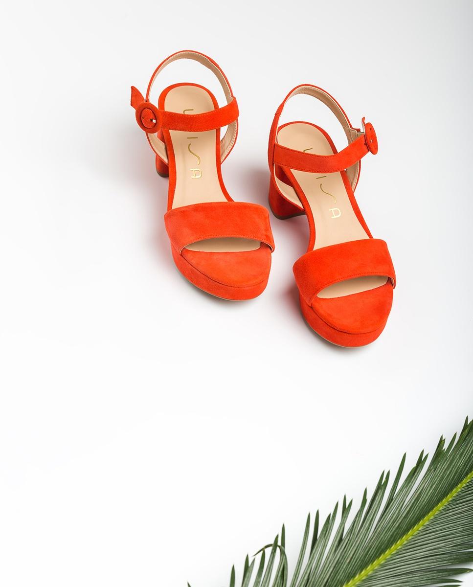 UNISA Kid suede retro sandals NENES_20_KS corallo 2
