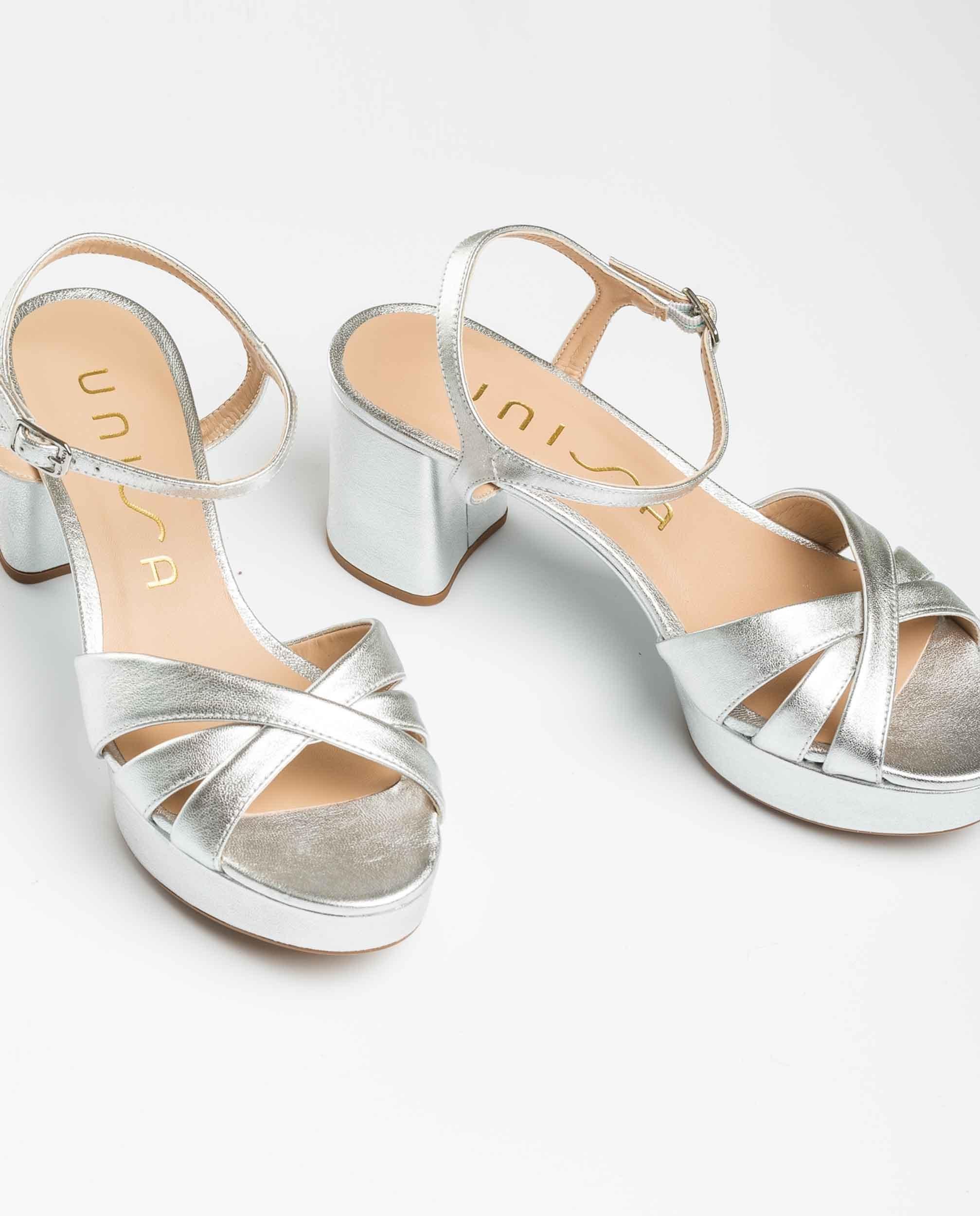 UNISA Metal effect crossed straps sandals NETA_LMT silver 2
