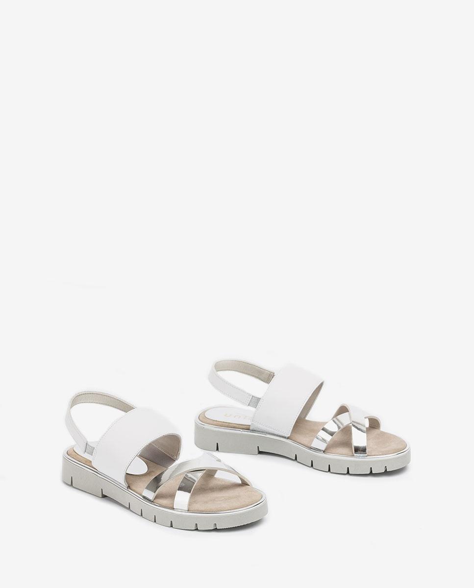 UNISA Little girl leather contrast sandals NOLES_C_SP_NF silver 2