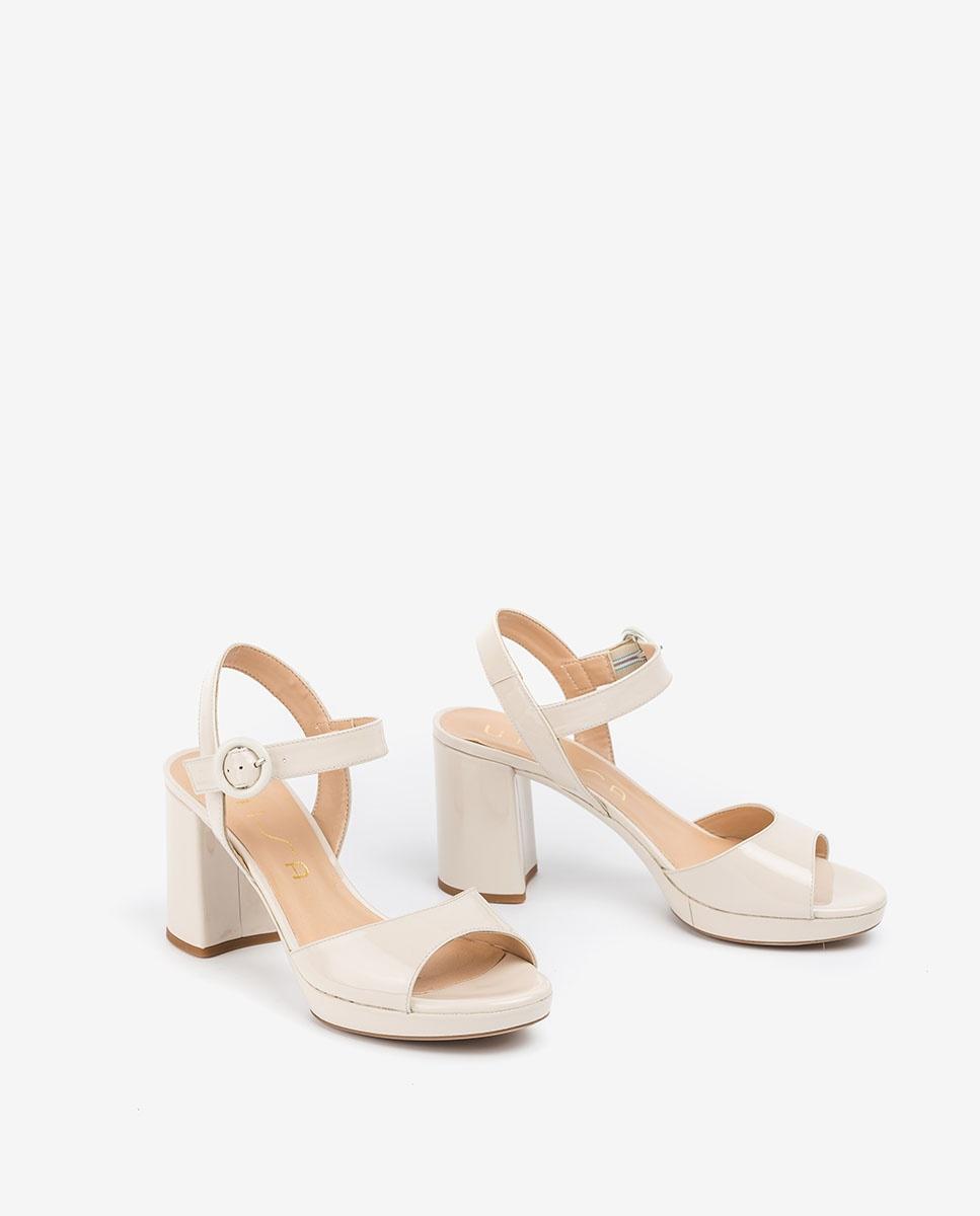 UNISA White patent leather sandals OMERCI_PA ivory 2