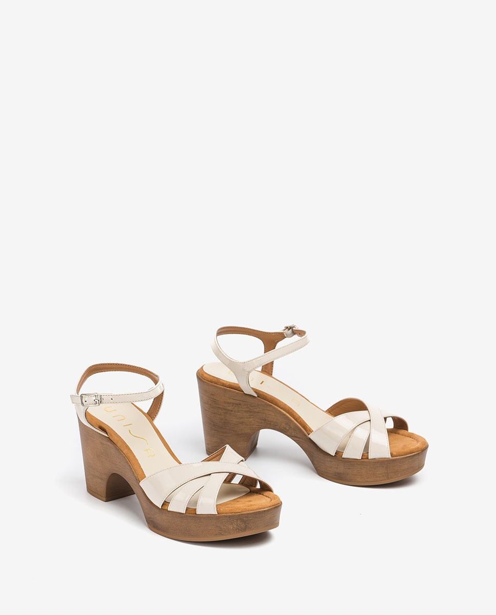 UNISA White block sandals ONETA_PA ivory 2