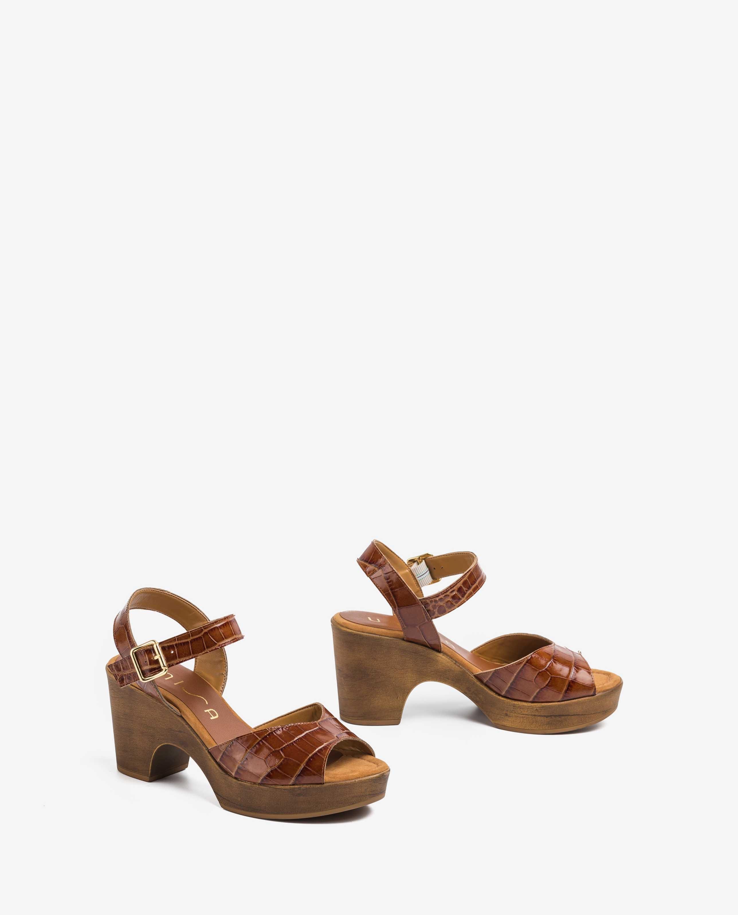 UNISA Brown croc sandals OTTIS_CRW saddle 2