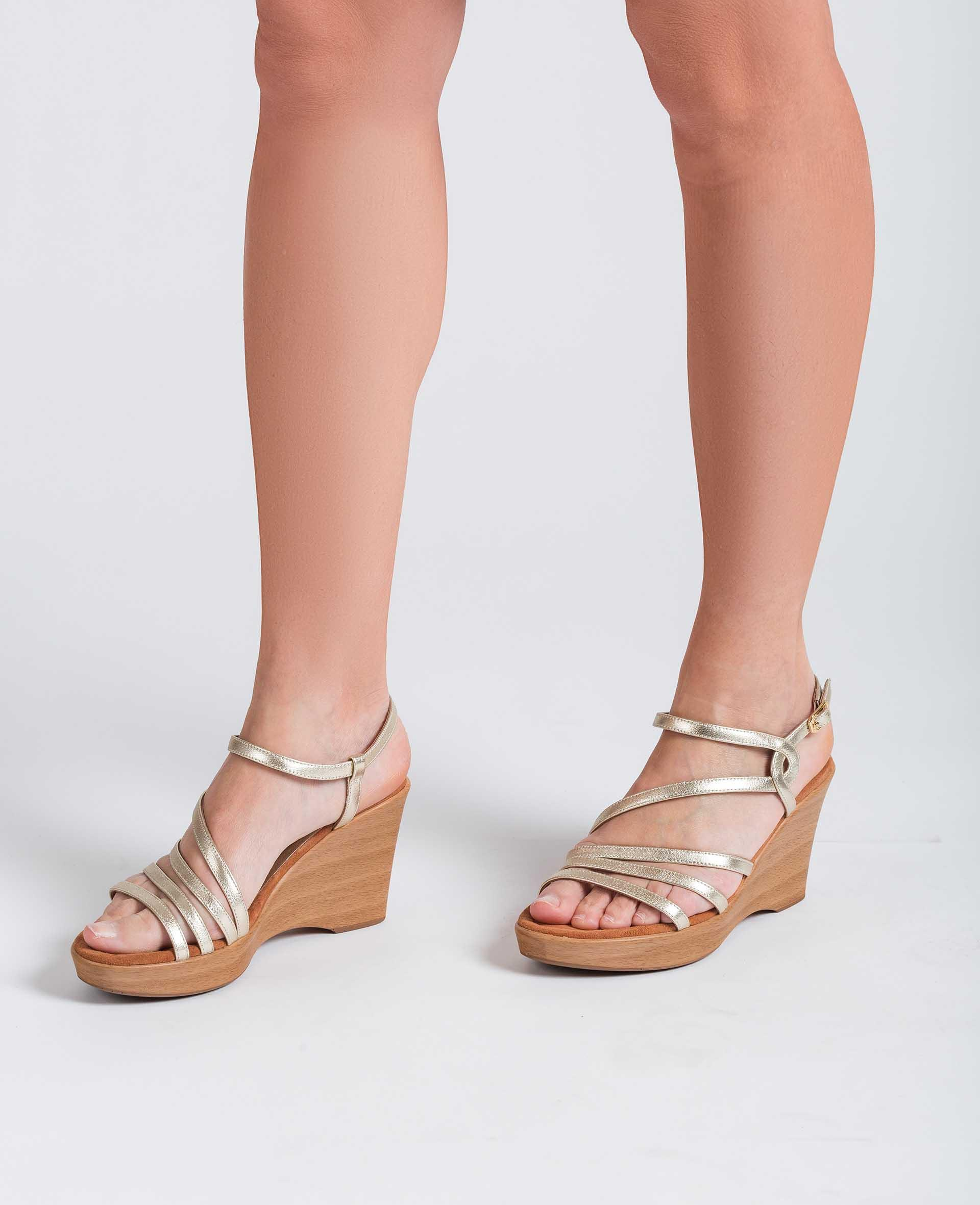 UNISA Metal effect leather sandals with instep-ankle strap RABAL_LMT 2