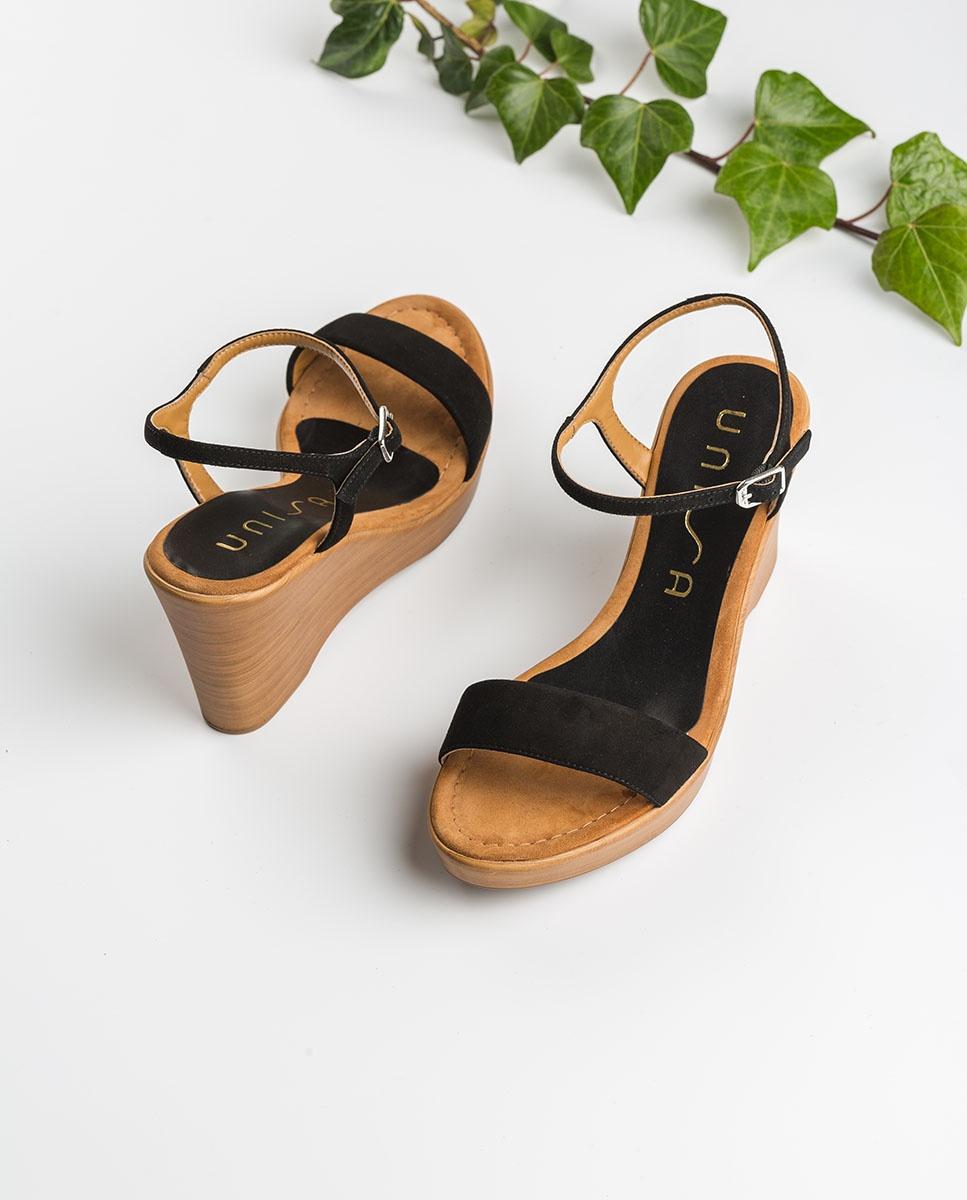 UNISA Kid suede block sandals RITA_20_KS black 2