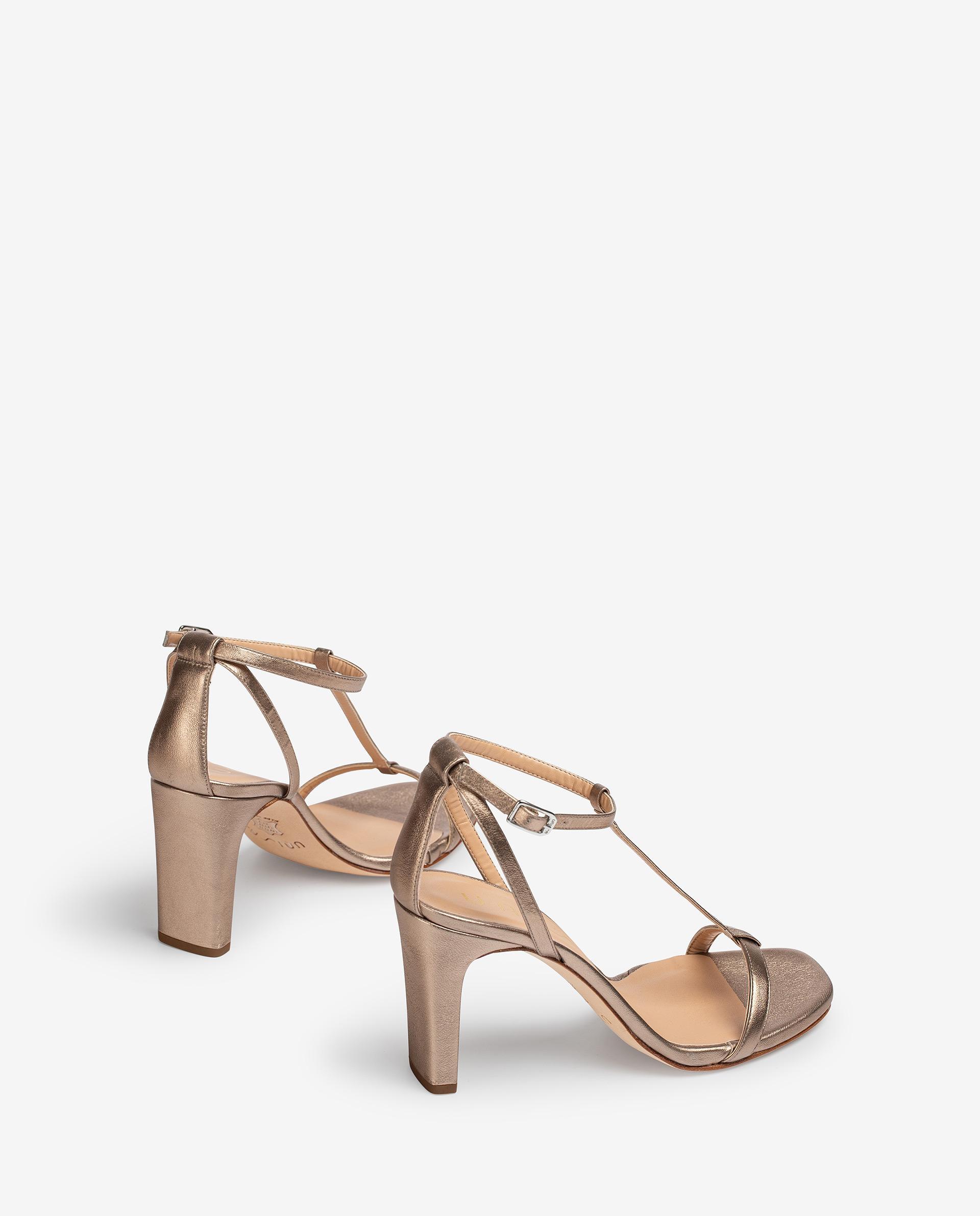UNISA Metal effect leather crossed straps sandals SETI_LMT 2