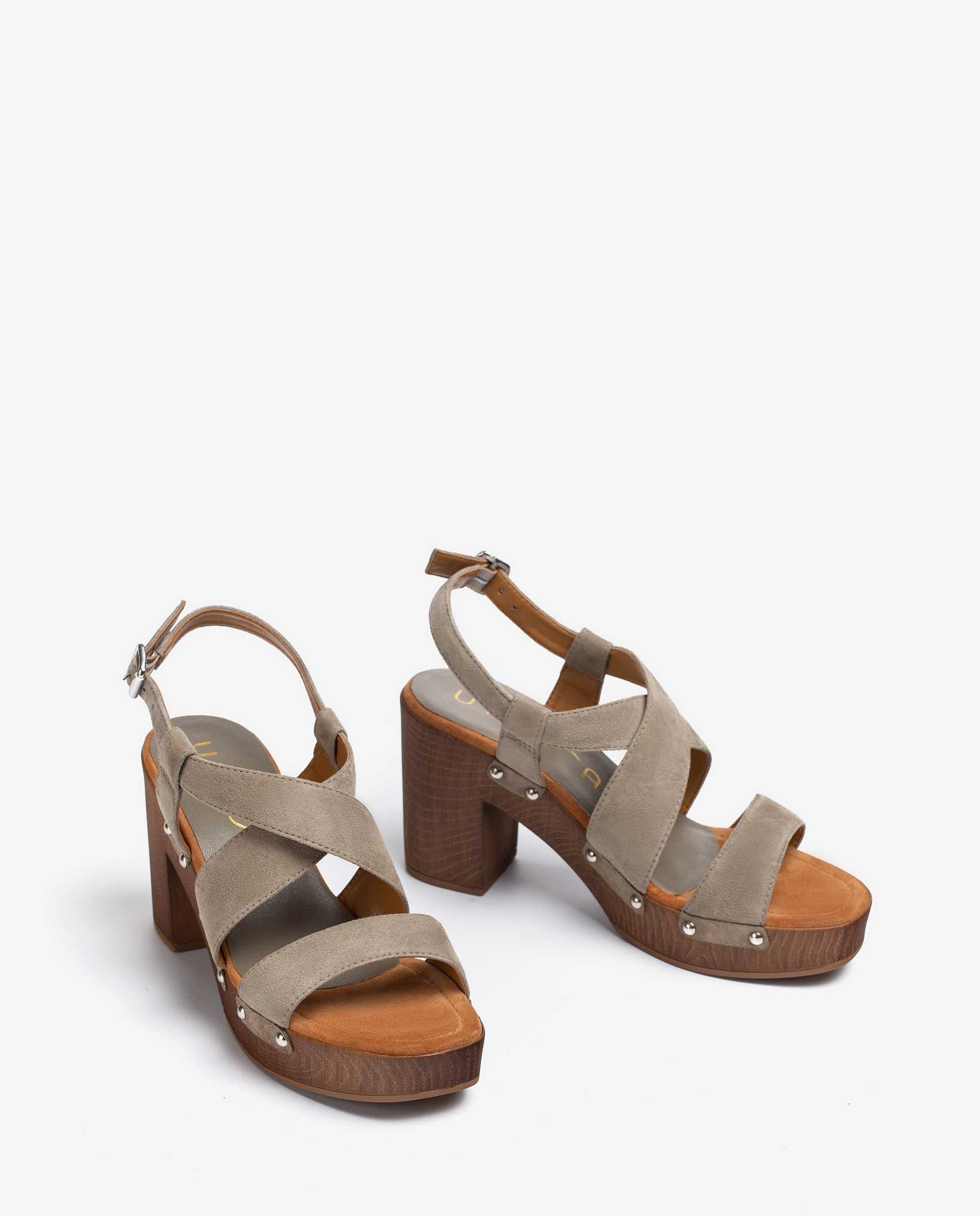 UNISA Kid suede block sandals TERRAT_21_KS 2