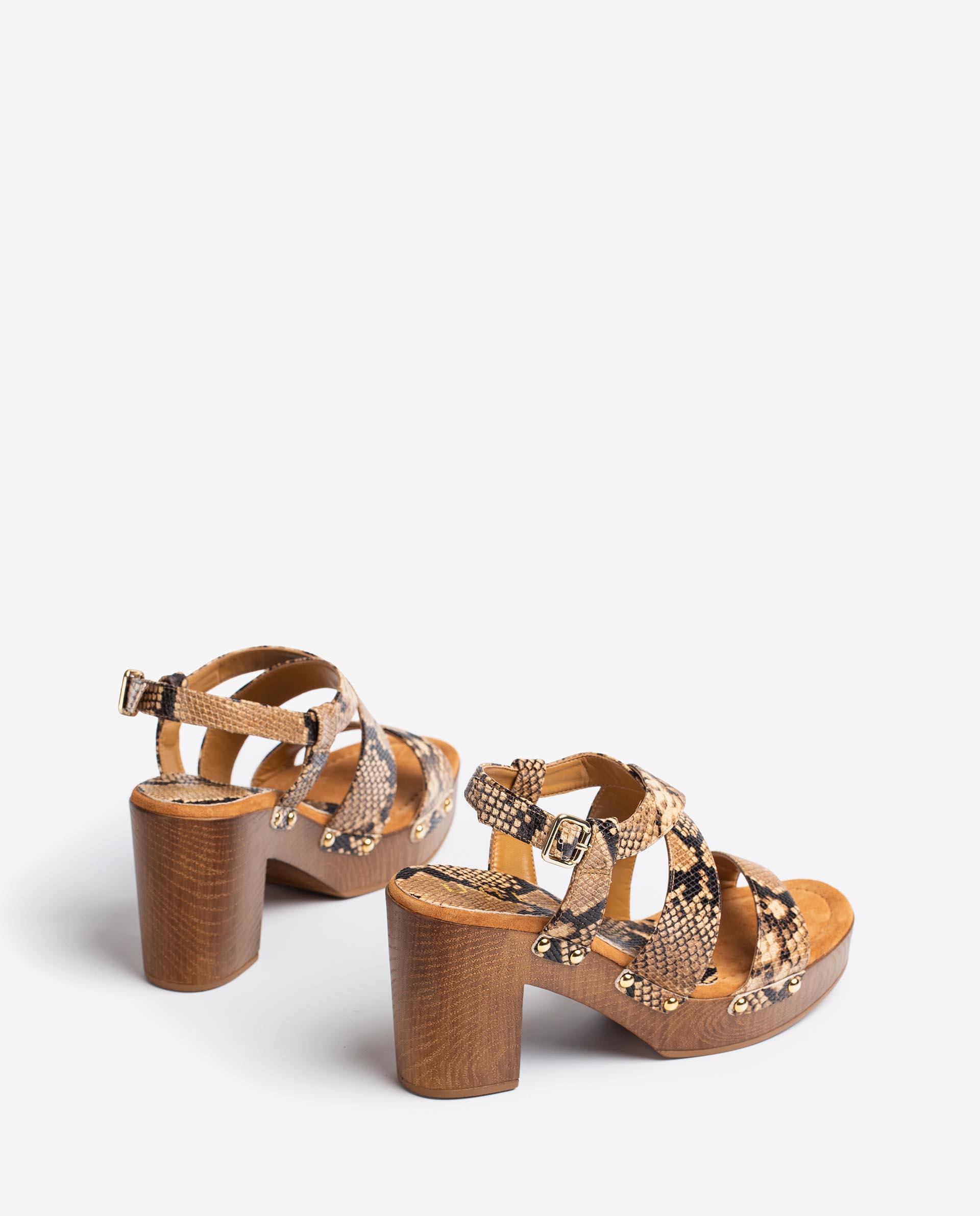 UNISA Snake effect leather block sandals TERRAT_21_VIP 2