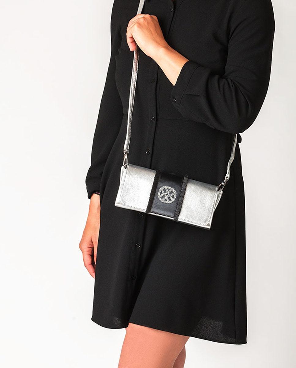 UNISA Metal effect handbag with monogram ZDREAMER_LMT silver 2