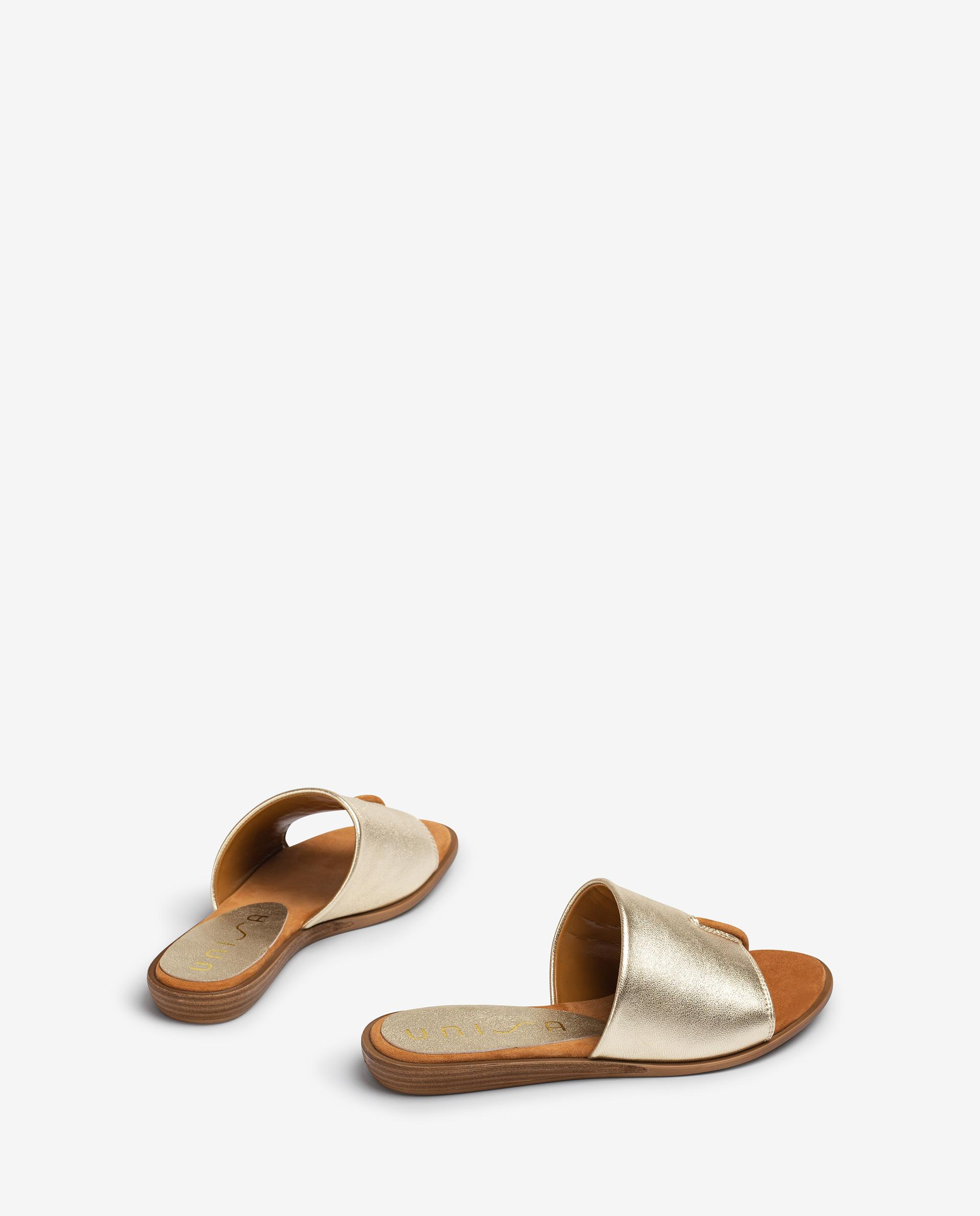 UNISA Metal effect leather thong type sandals ACHO_21_LMT 2