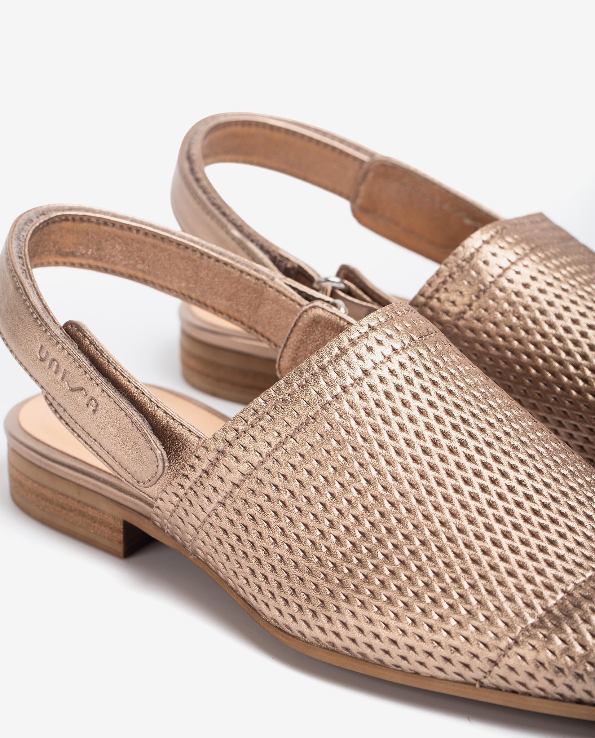 UNISA Metal effect leather slingbacks DAFROS_LMT 2