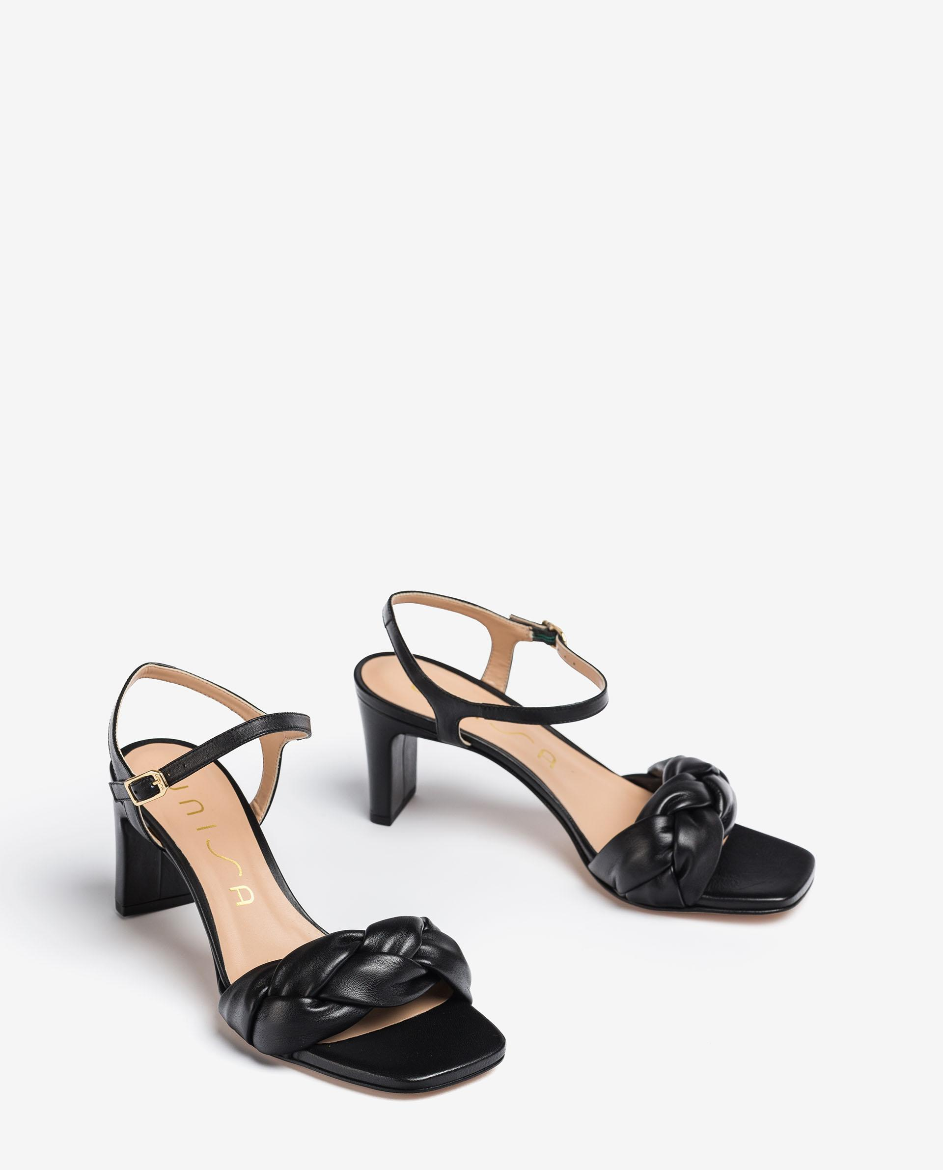 UNISA Padded mule crossed leather sandals MANDAY_NS 2
