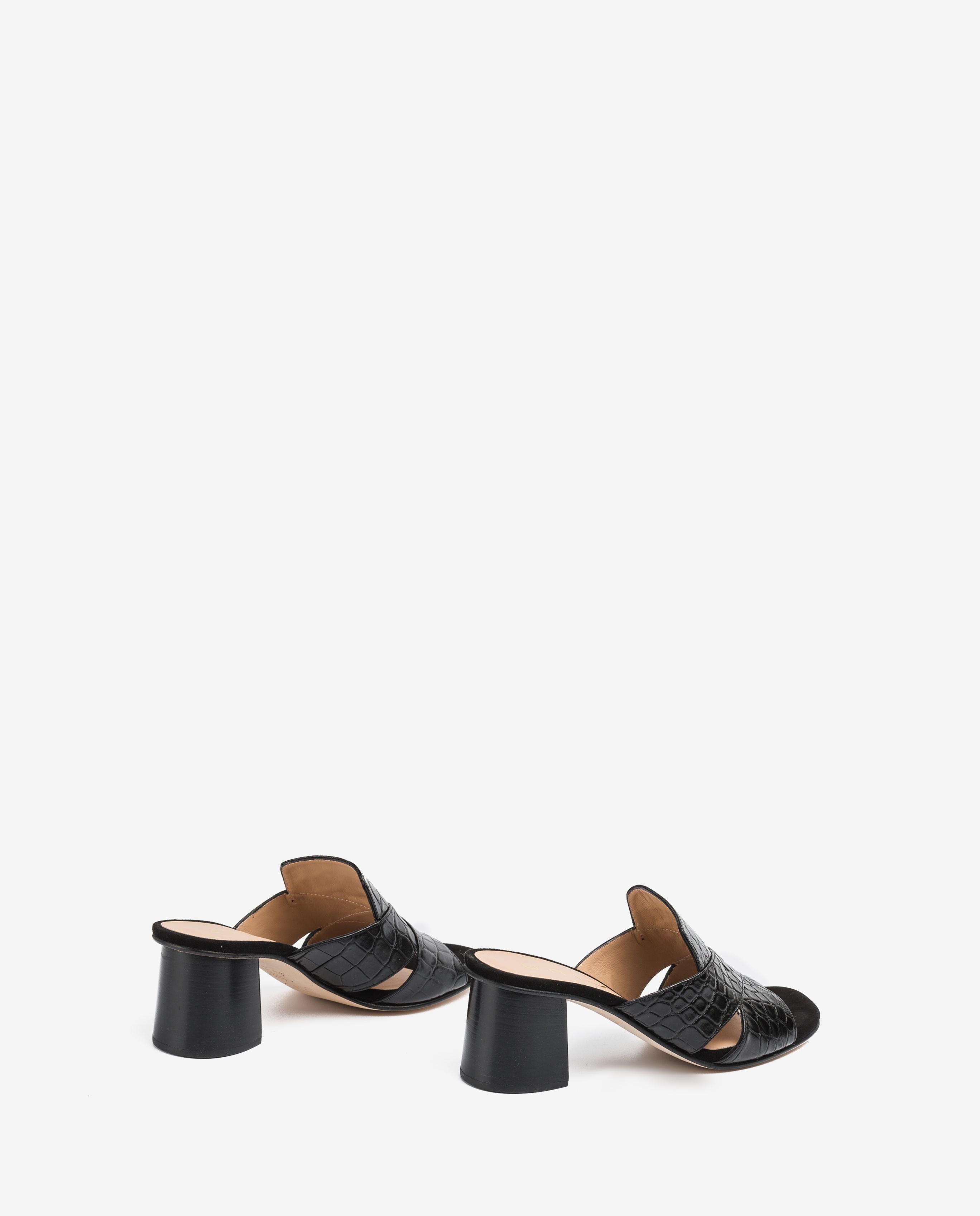 UNISA Wood effect heel contrast mules MANOLI_CRW_KS black 2