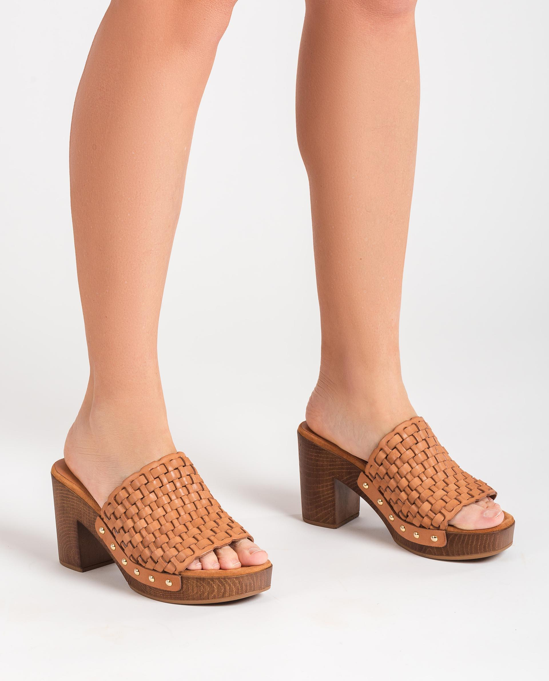 UNISA Braided leather mules with wooden effect heel TABLE_RAN 2