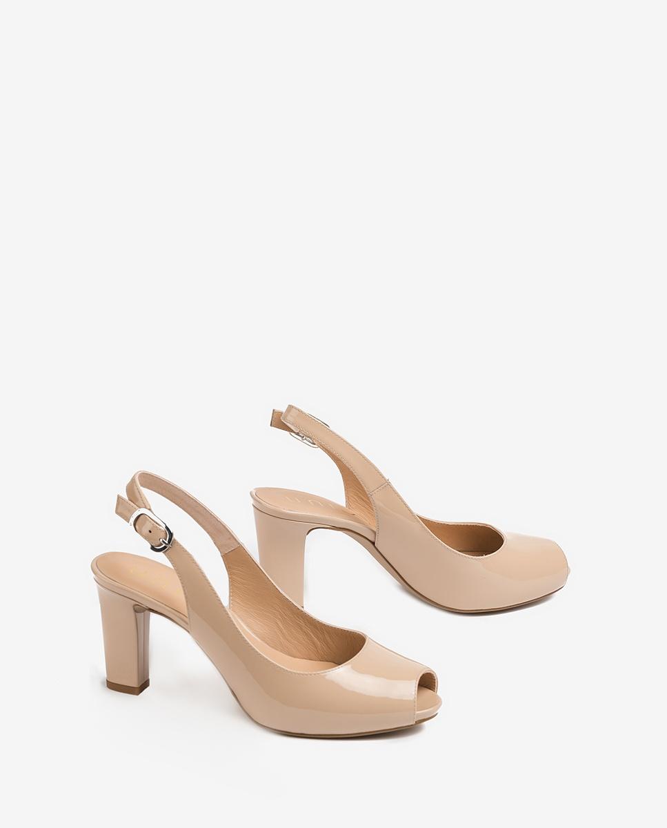 UNISA Patent leather peep toe slingbacks NICKA_CLASSIC_20_PA nude 2