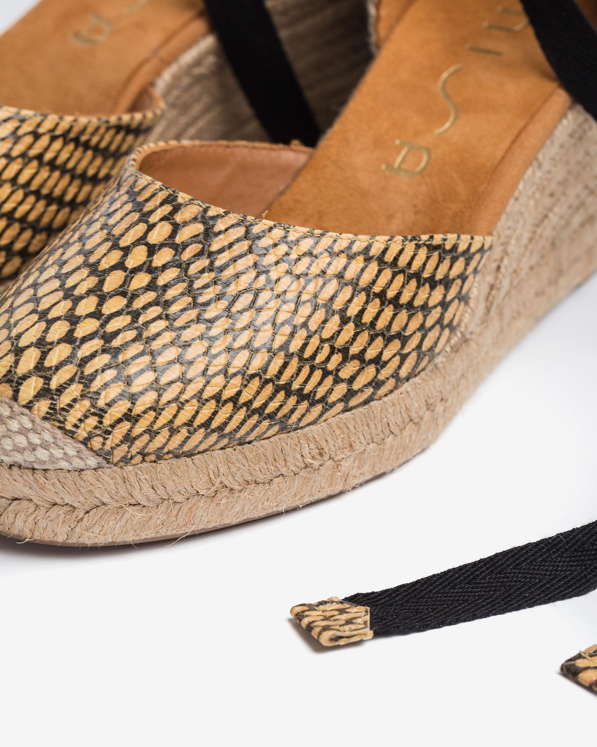 UNISA Snake effect leather espadrilles with ankle lacing knot CANDIDA_MA 2